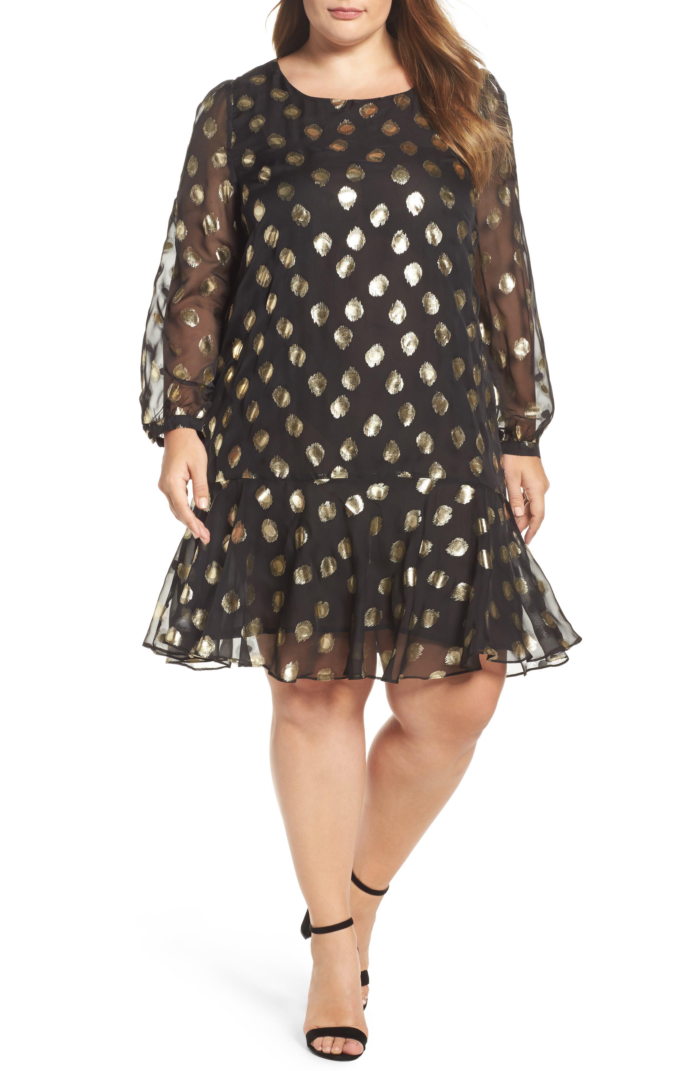Metallic Dot Drop Waist Dress,                         Main,                         color, Black Gold Spot