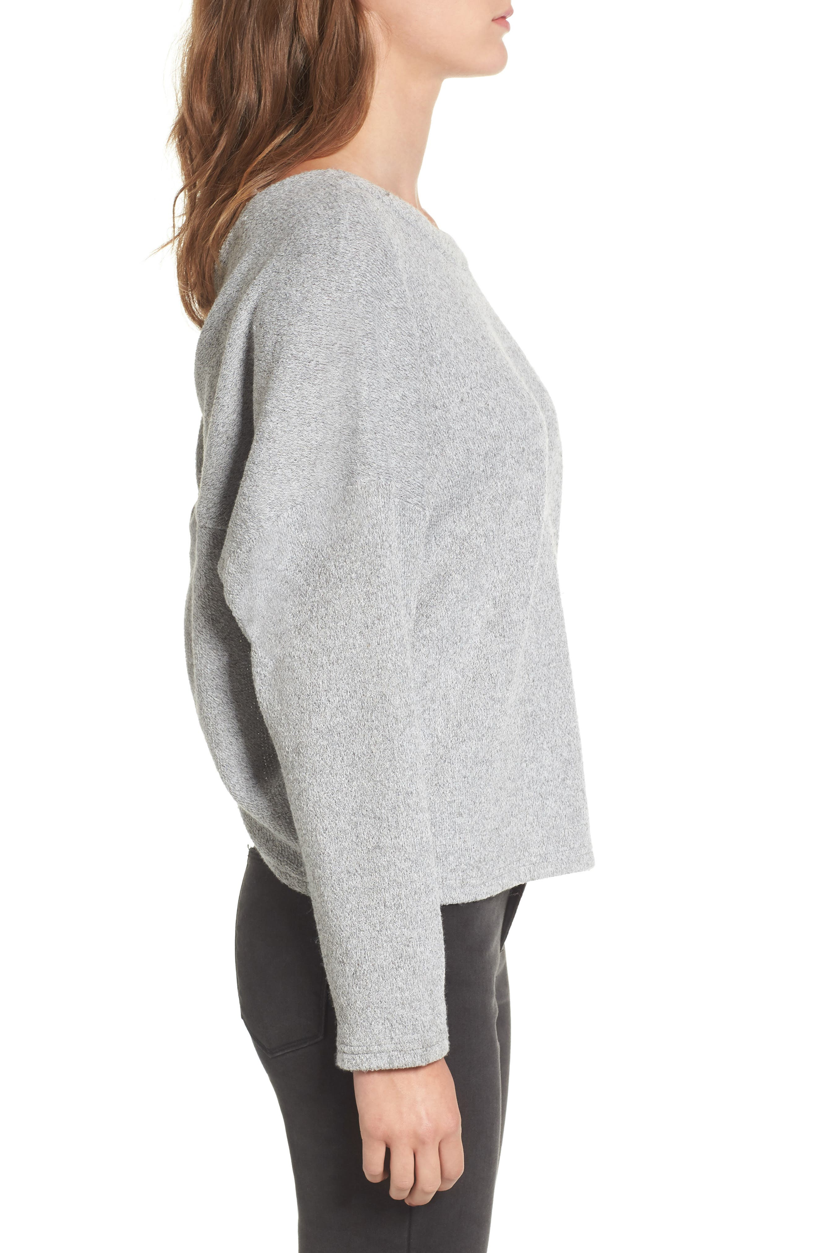 Knot Back Sweatshirt,                             Alternate thumbnail 3, color,                             Heather-Grey