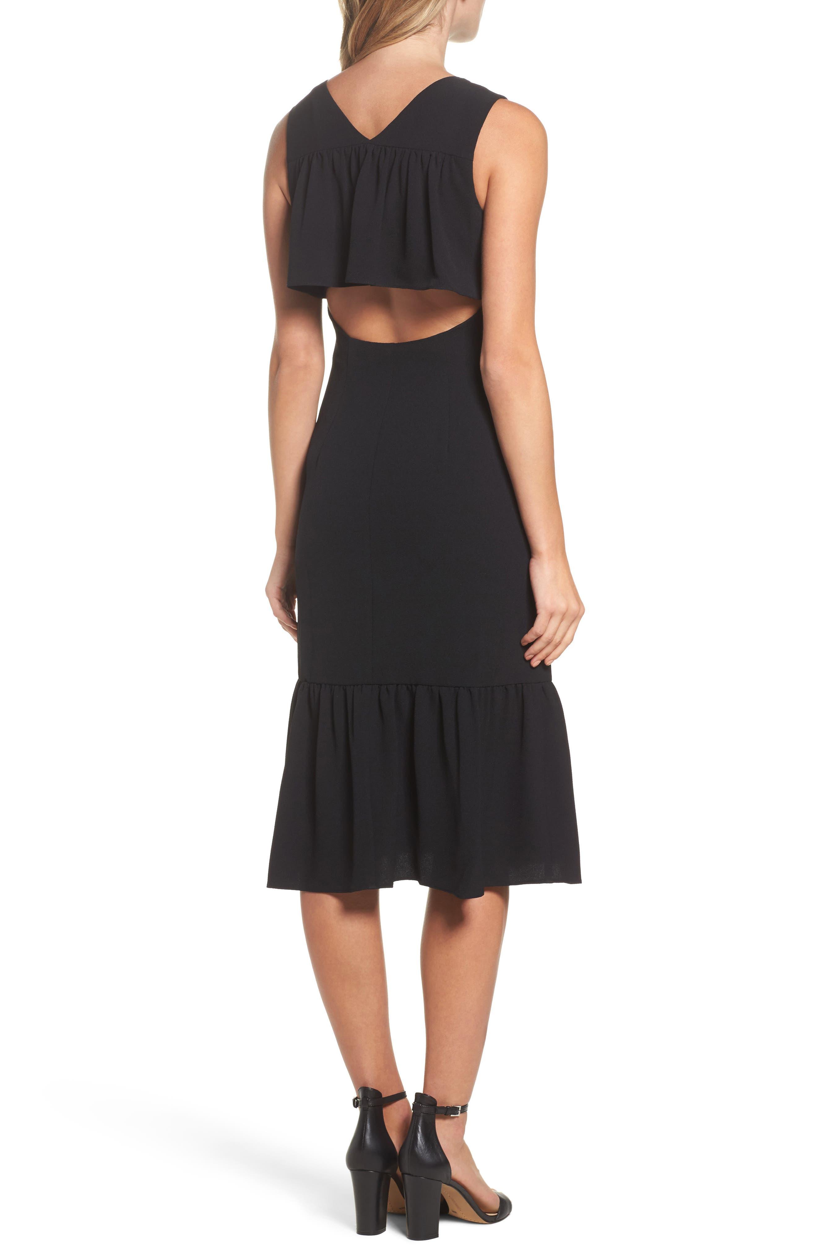Ruffle Back Crepe Sheath Dress,                             Alternate thumbnail 2, color,                             Black