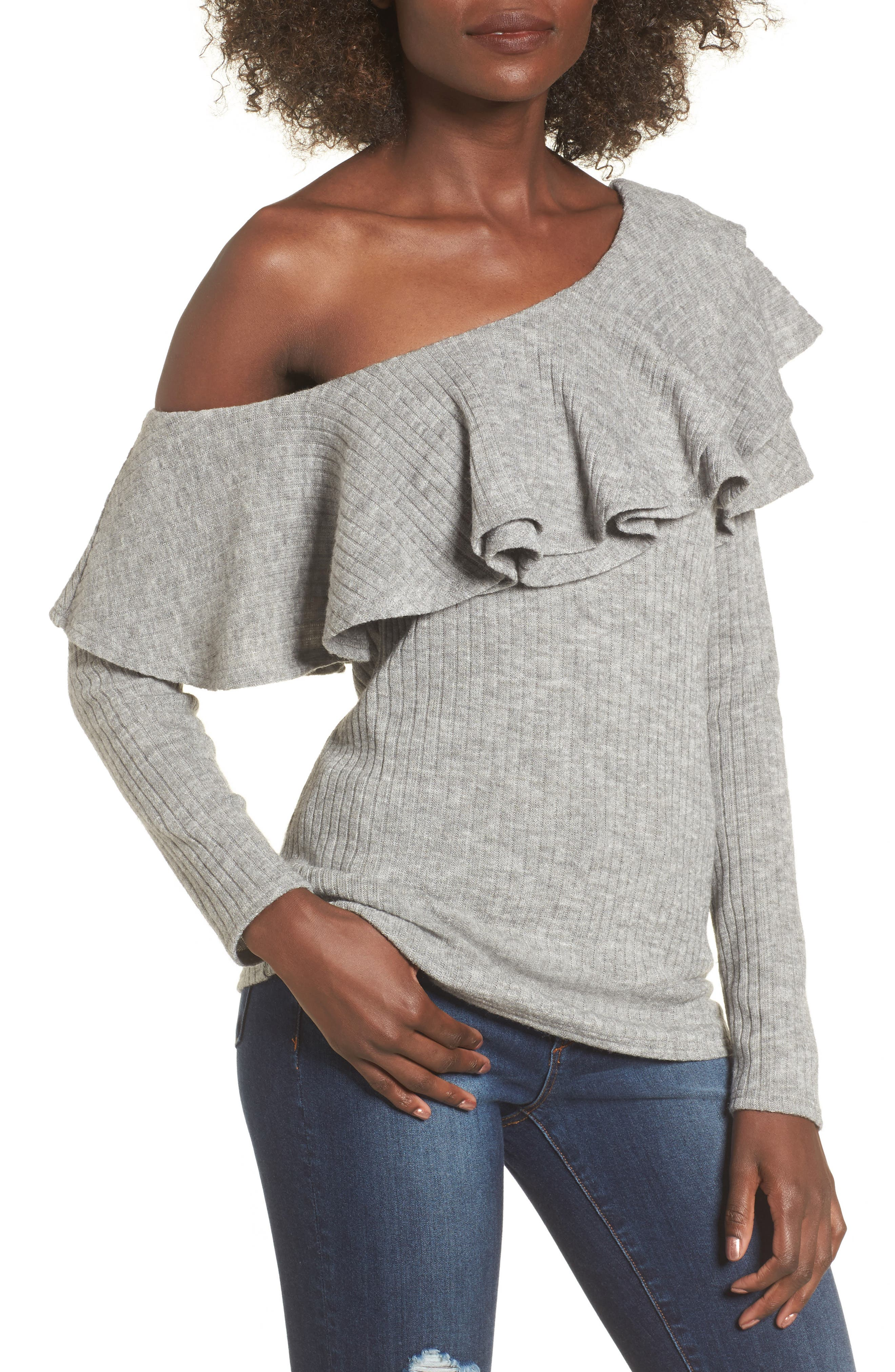 Ruffle One-Shoulder Sweater,                         Main,                         color, Heather Grey