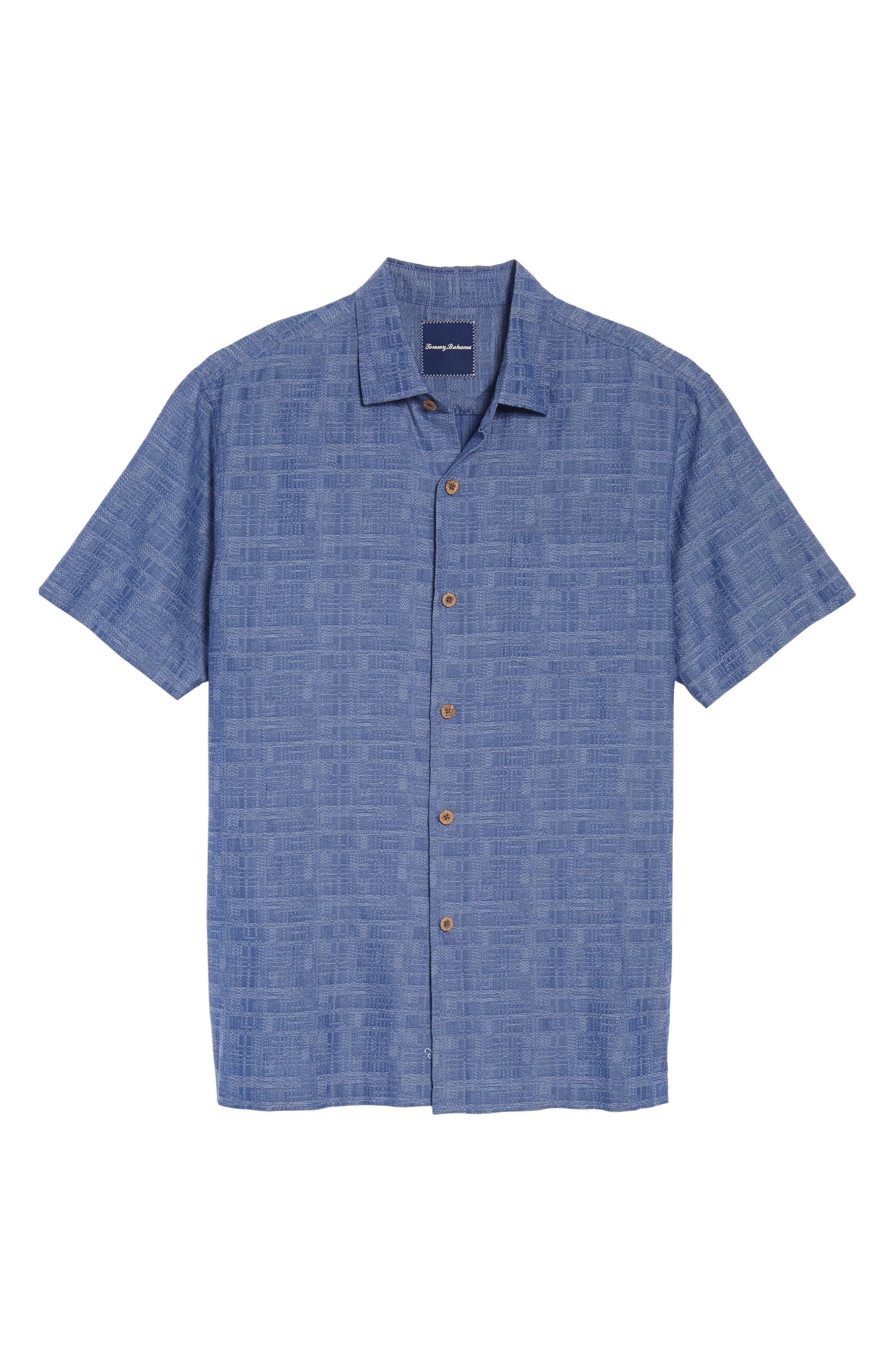 Getaway Grid Silk Blend Camp Shirt,                             Alternate thumbnail 6, color,                             Sanibel Blue