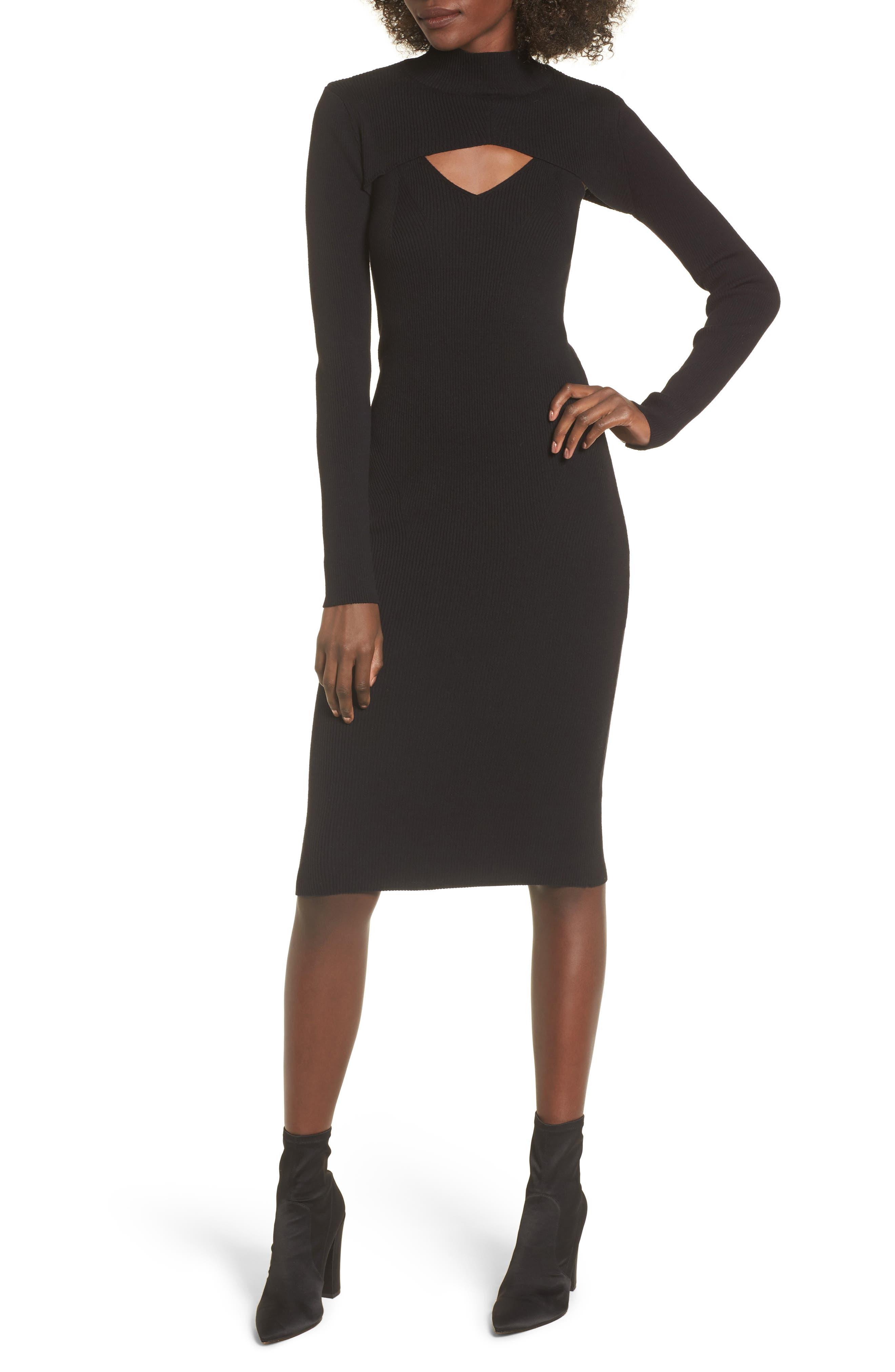 Slipdress with Shrug Sweater,                             Main thumbnail 1, color,                             Black