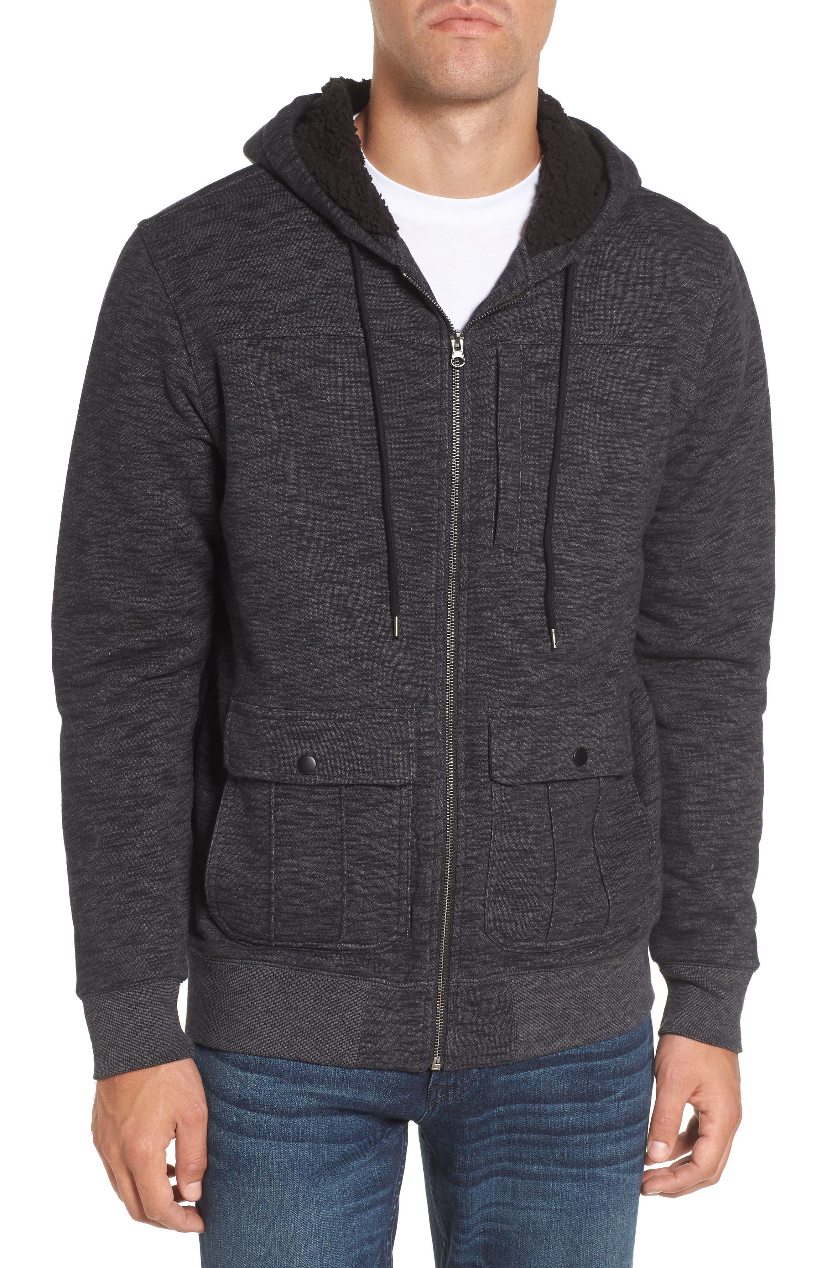 Lido Zip Hoodie,                         Main,                         color, Black