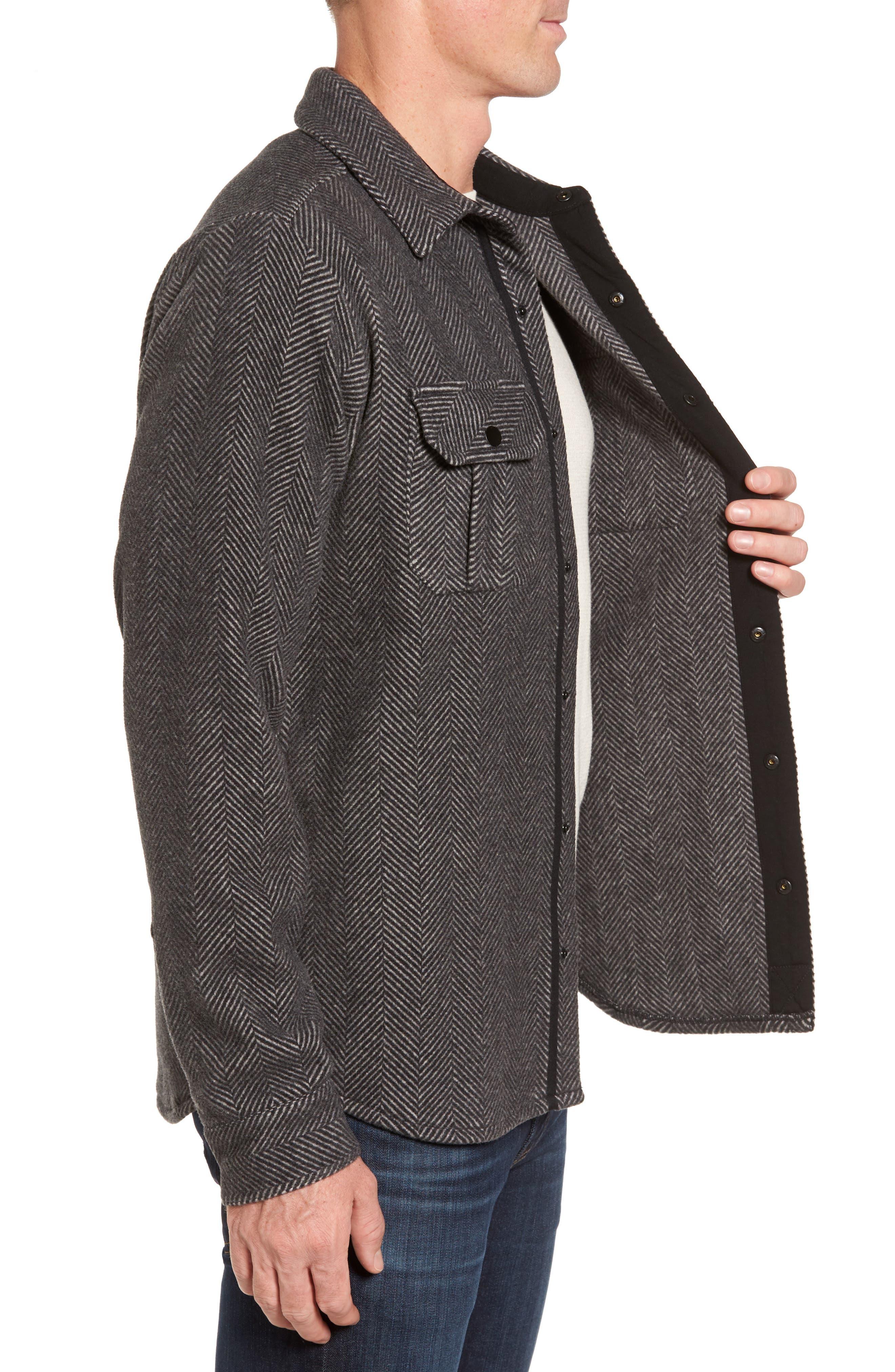 Anchor Line Herringbone Wool Blend Shirt Jacket,                             Alternate thumbnail 3, color,                             Charcoal Heather