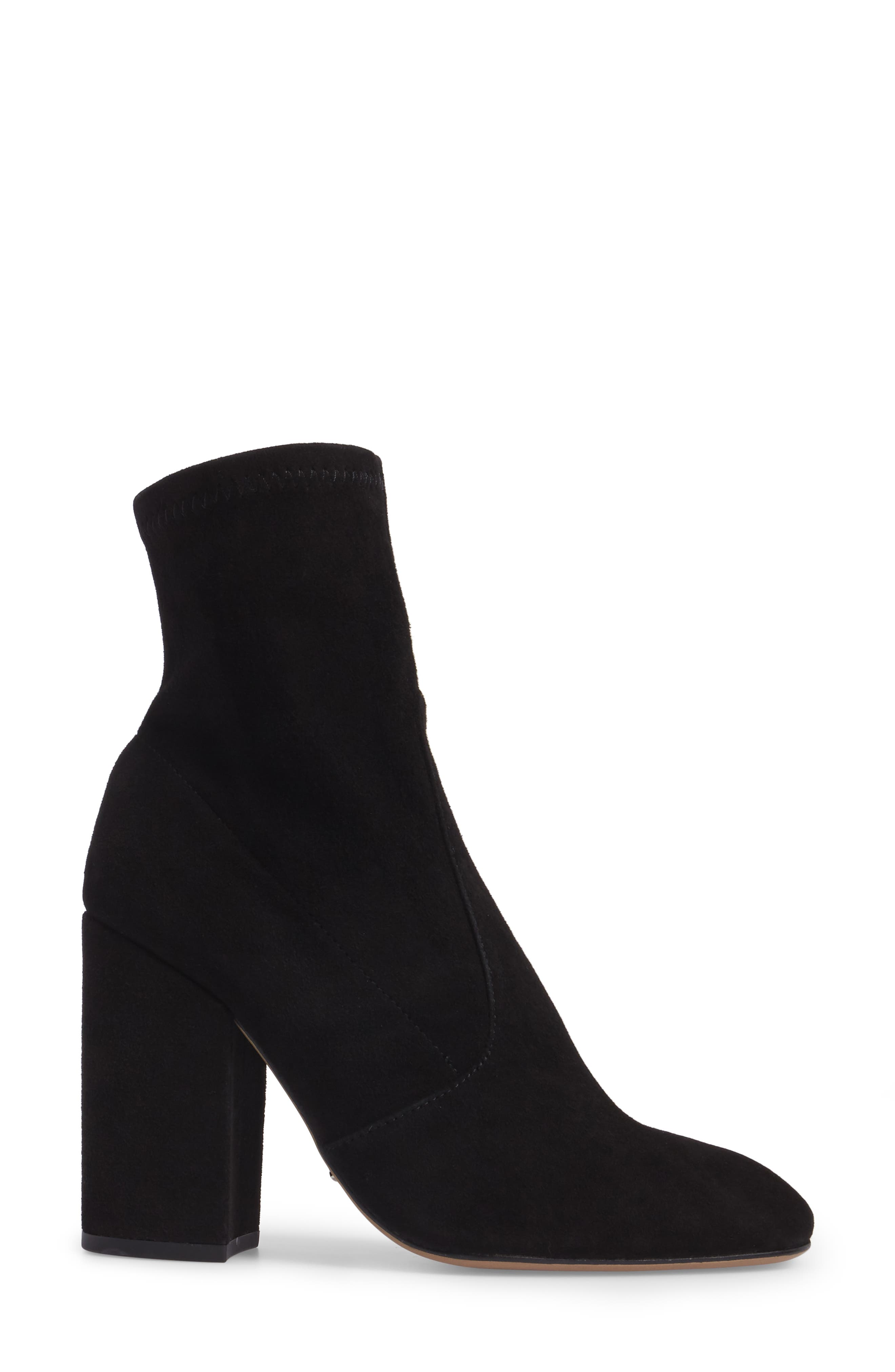 Alaia Block Heel Bootie,                             Alternate thumbnail 3, color,                             Black Suede