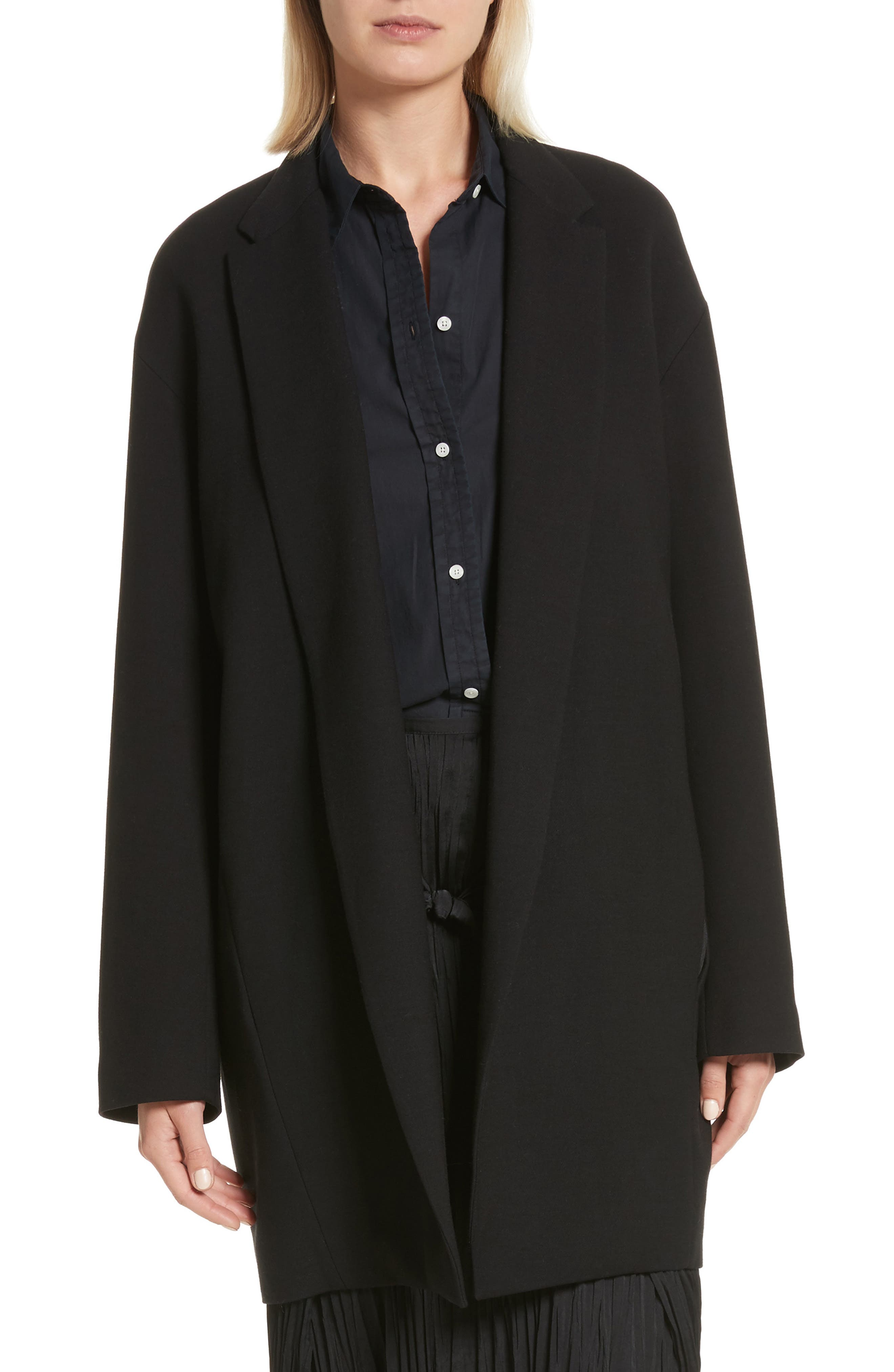 Open Front Blazer Coat,                             Main thumbnail 1, color,                             Black