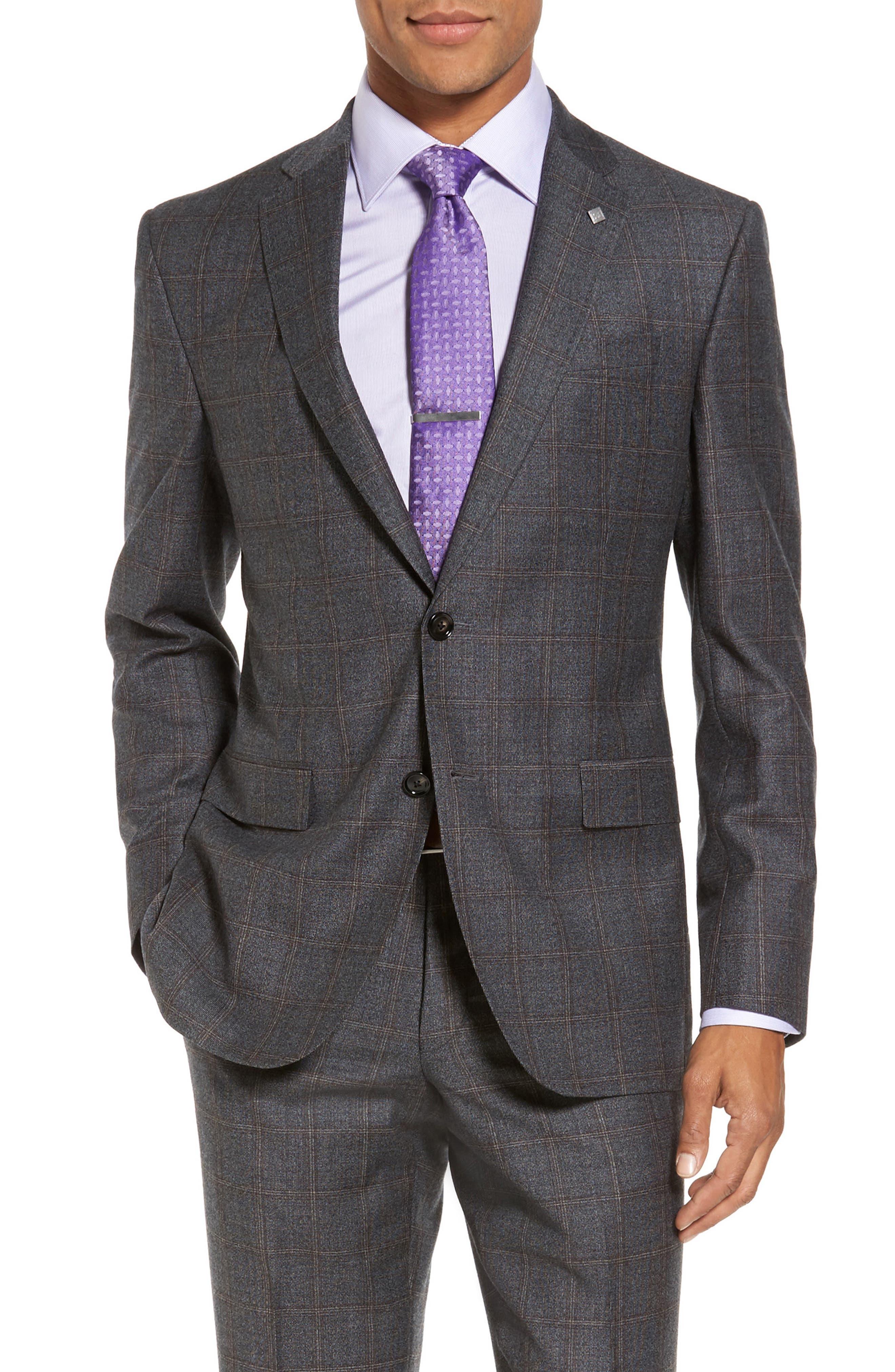 Trim Fit Plaid Wool Suit,                             Alternate thumbnail 5, color,                             Grey