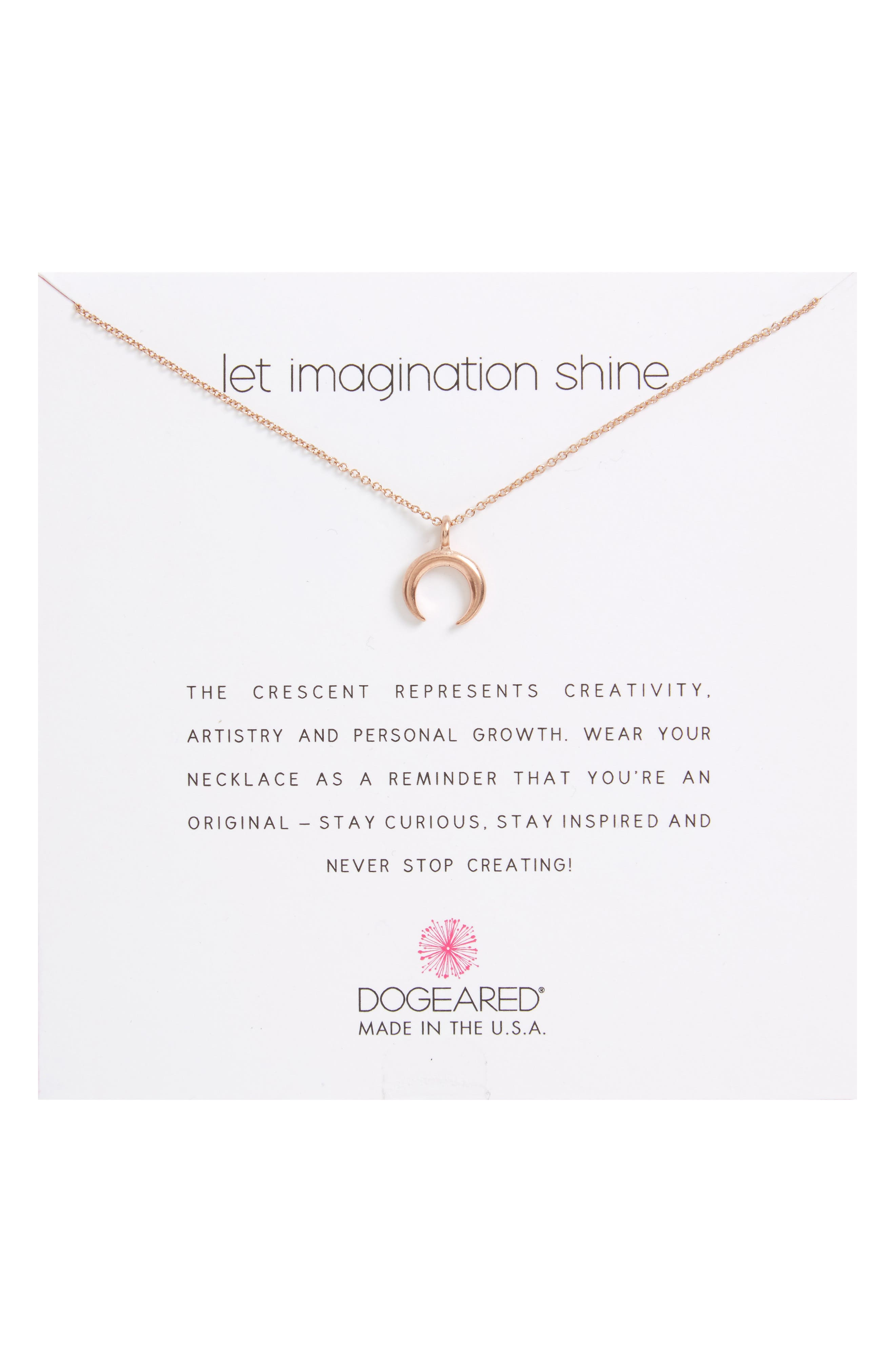 Let Imagination Shine Crescent Pendant Necklace,                             Alternate thumbnail 2, color,                             Rose Gold