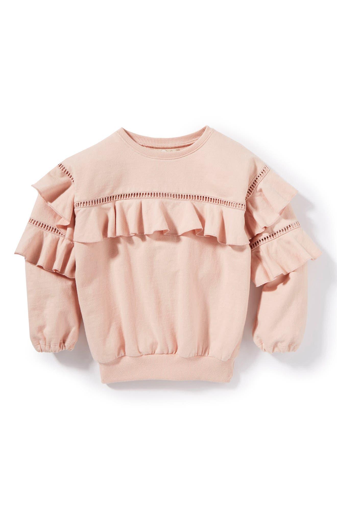 Vivienne Ruffle Sweatshirt,                             Main thumbnail 1, color,                             Dusty Pink