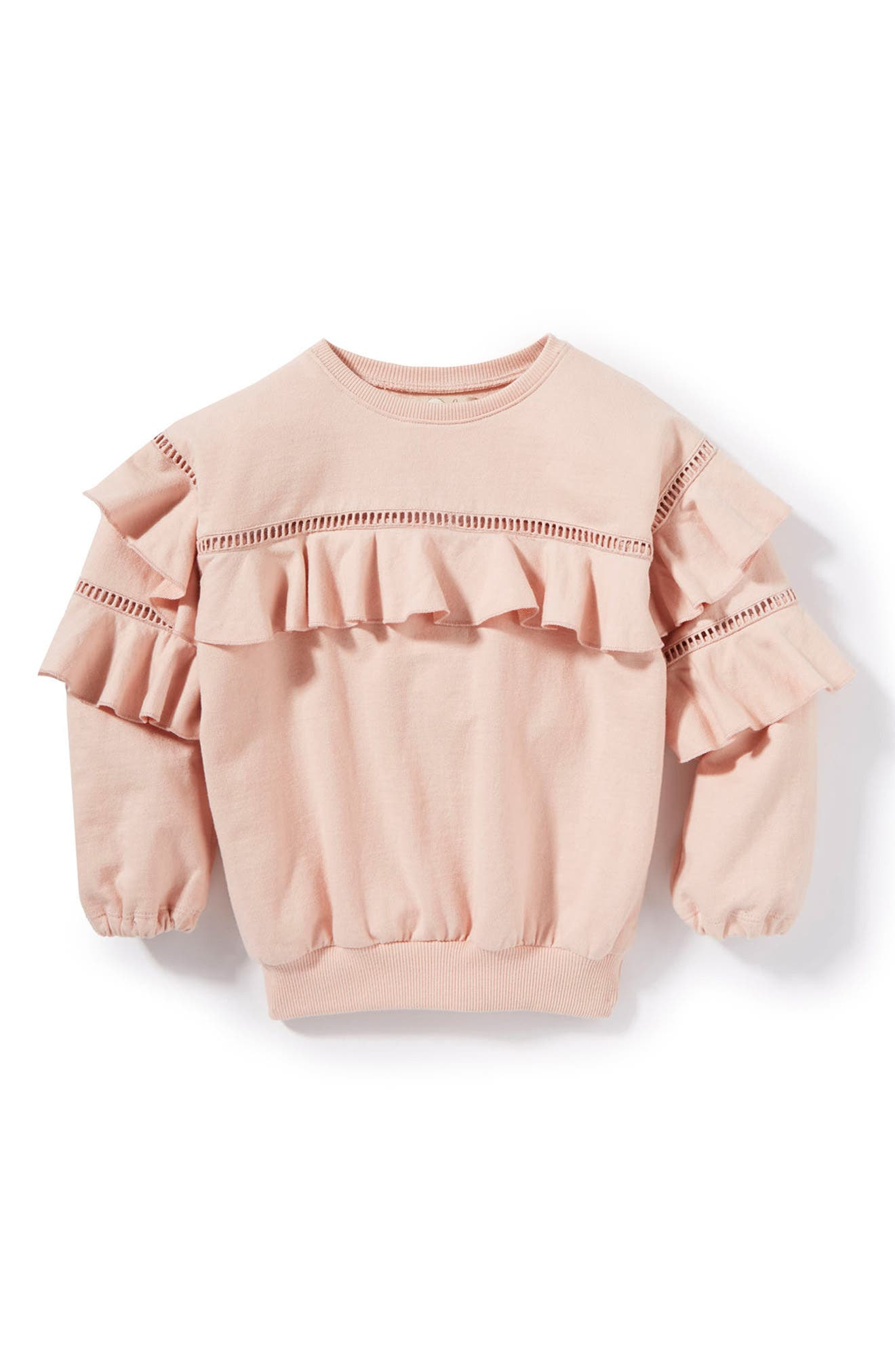 Main Image - Peek Vivienne Ruffle Sweatshirt (Toddler Girls, Little Girls & Big Girls)