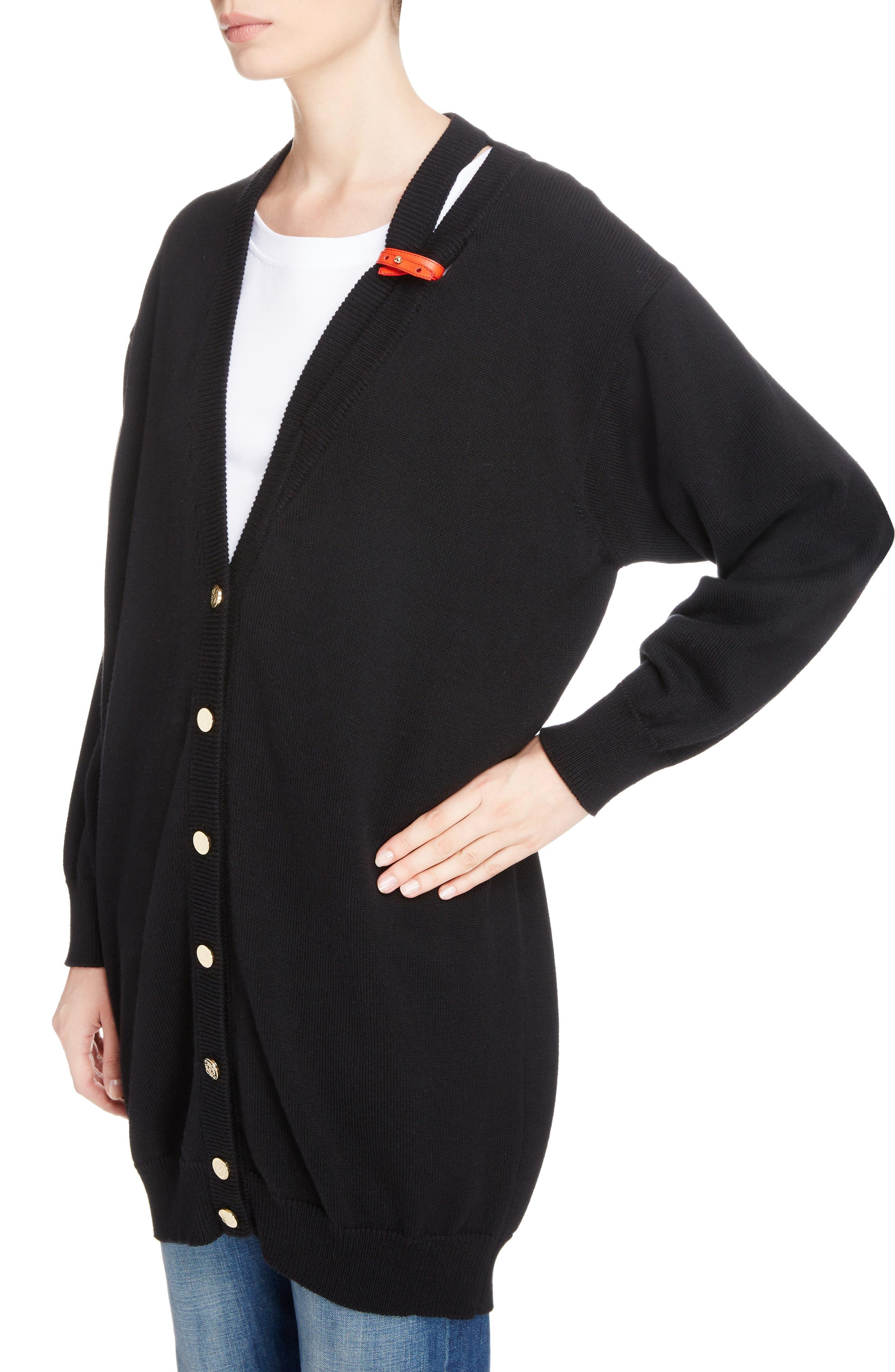 Alternate Image 3  - Loewe Leather Band Cotton & Cashmere Cardigan