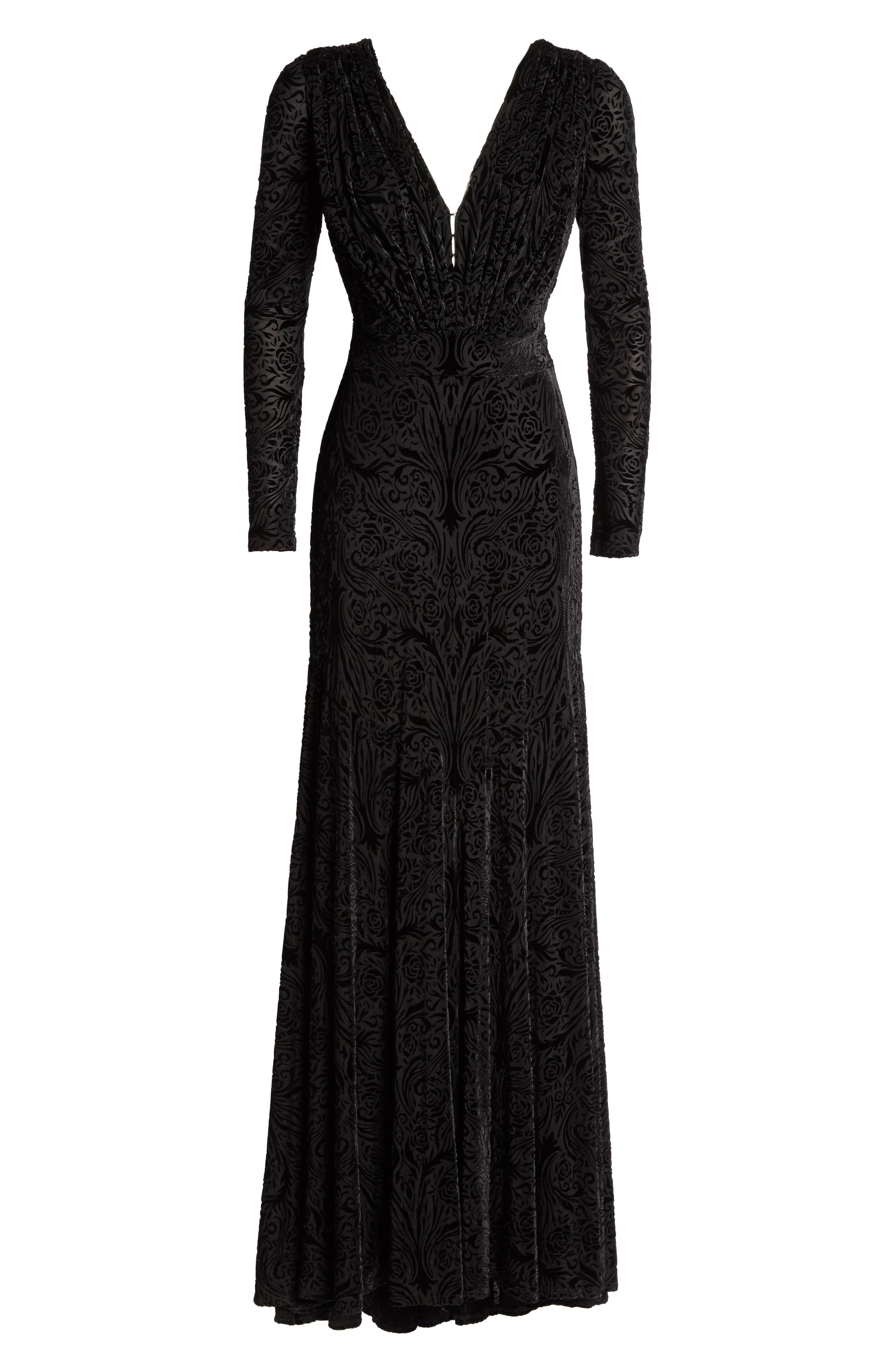 Plunge Burnout Gown,                             Alternate thumbnail 6, color,                             Black