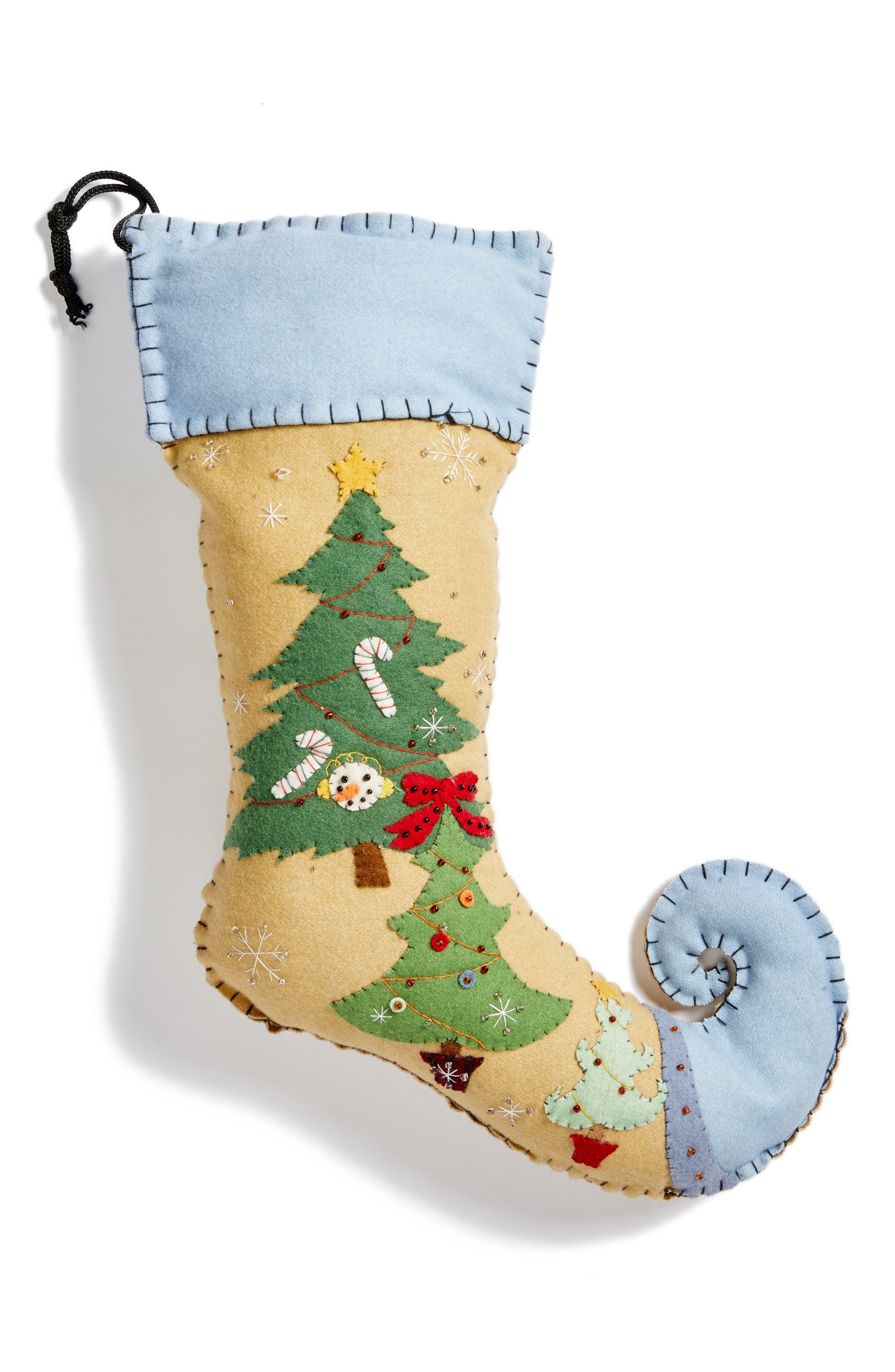 Christmas Tree Stocking,                             Main thumbnail 1, color,                             Blue