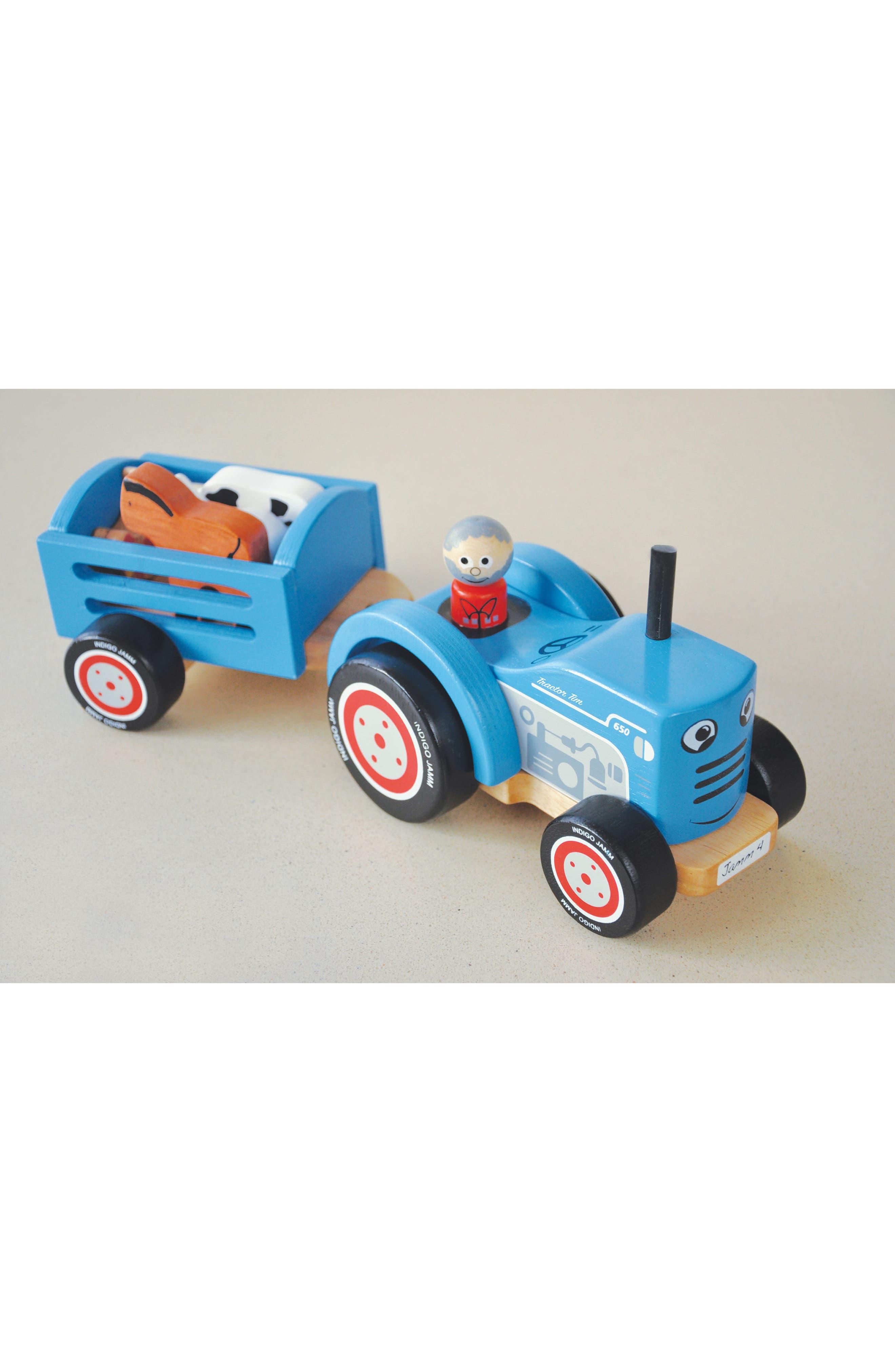 Wooden 8-Piece Farm Tractor Play Set,                             Alternate thumbnail 3, color,                             Blue