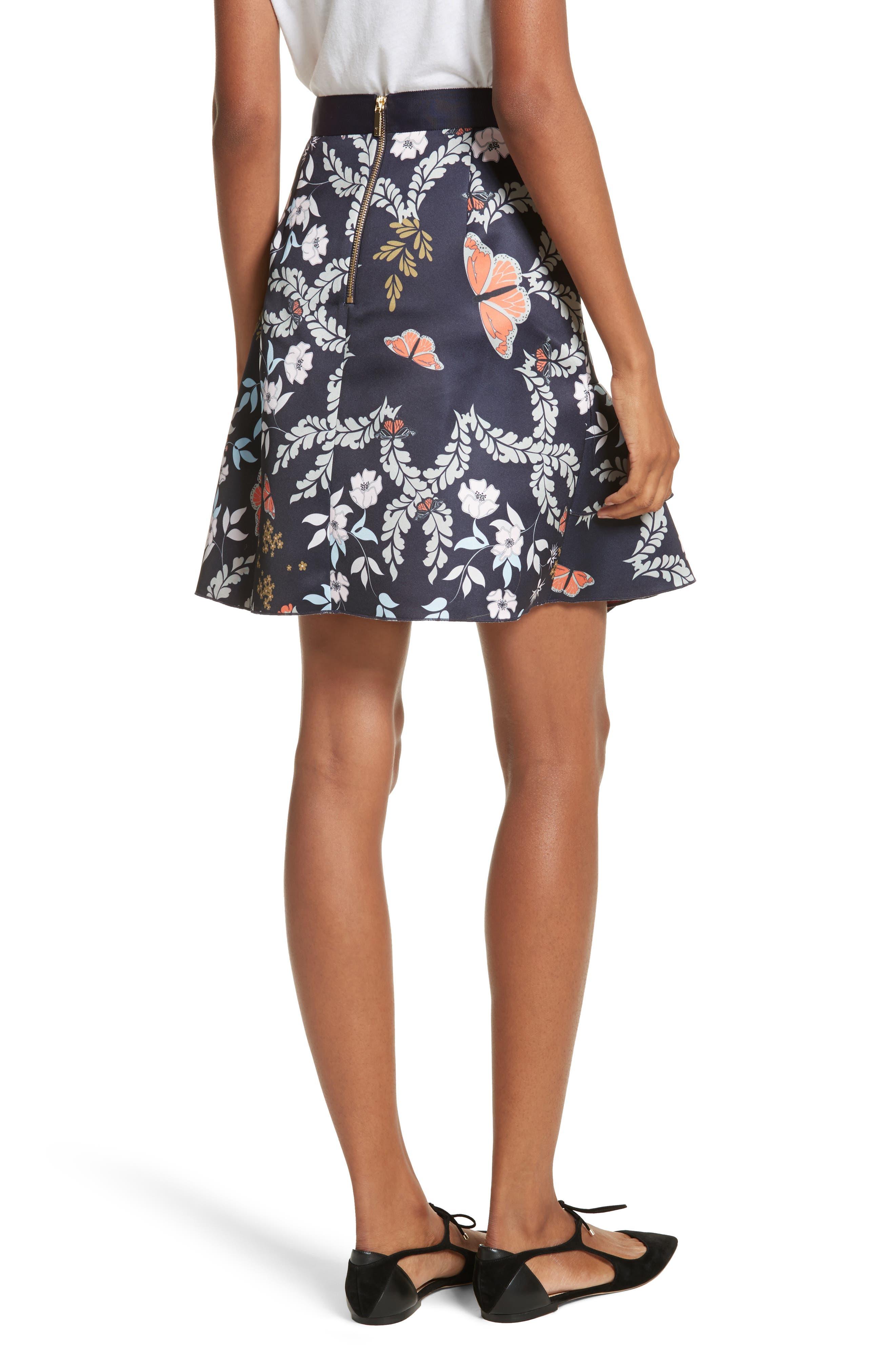 Janesa Kyoto Print Ruffle Skirt,                             Alternate thumbnail 2, color,                             Mid Blue