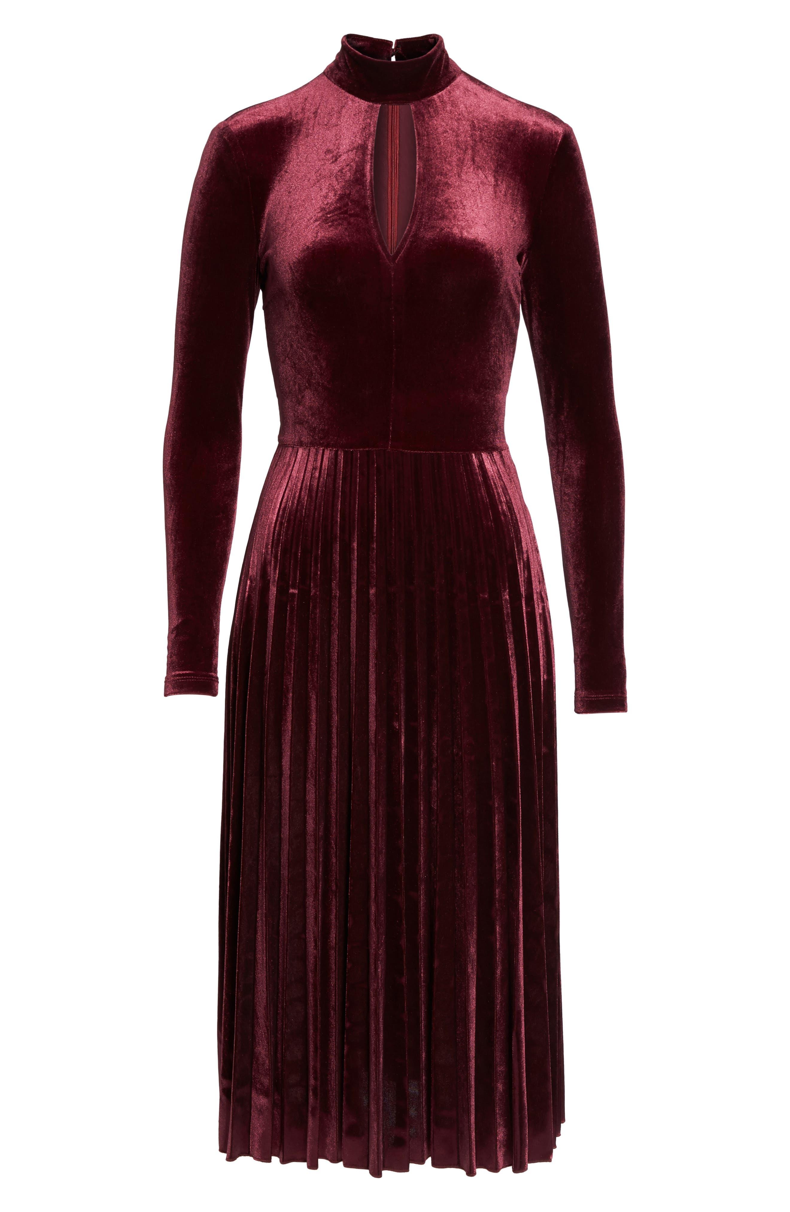Velvet Midi Dress,                             Alternate thumbnail 6, color,                             Wine