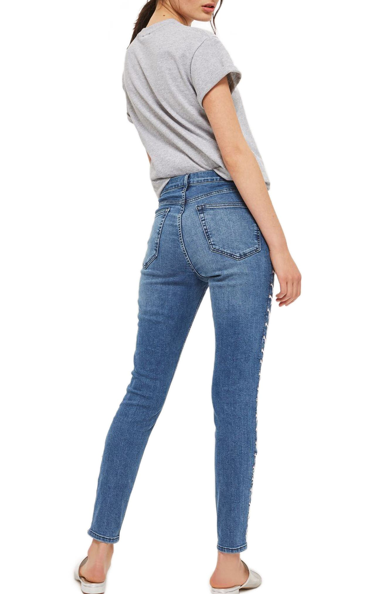Alternate Image 2  - Topshop Jamie Side Lace-Up Ankle Skinny Jeans