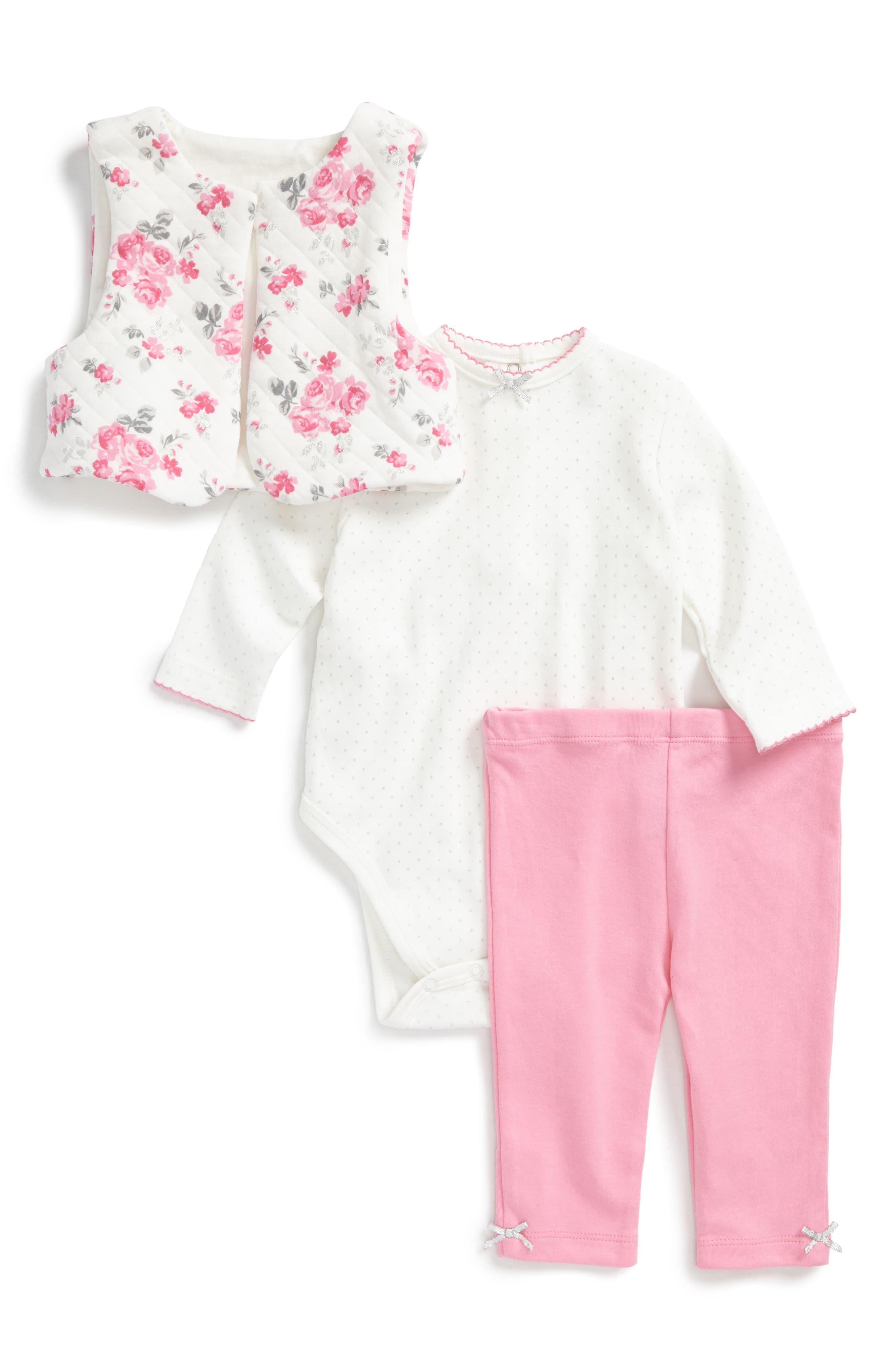 Main Image - Little Me Rose Bodysuit, Leggings & Quilted Vest Set (Baby Girls)