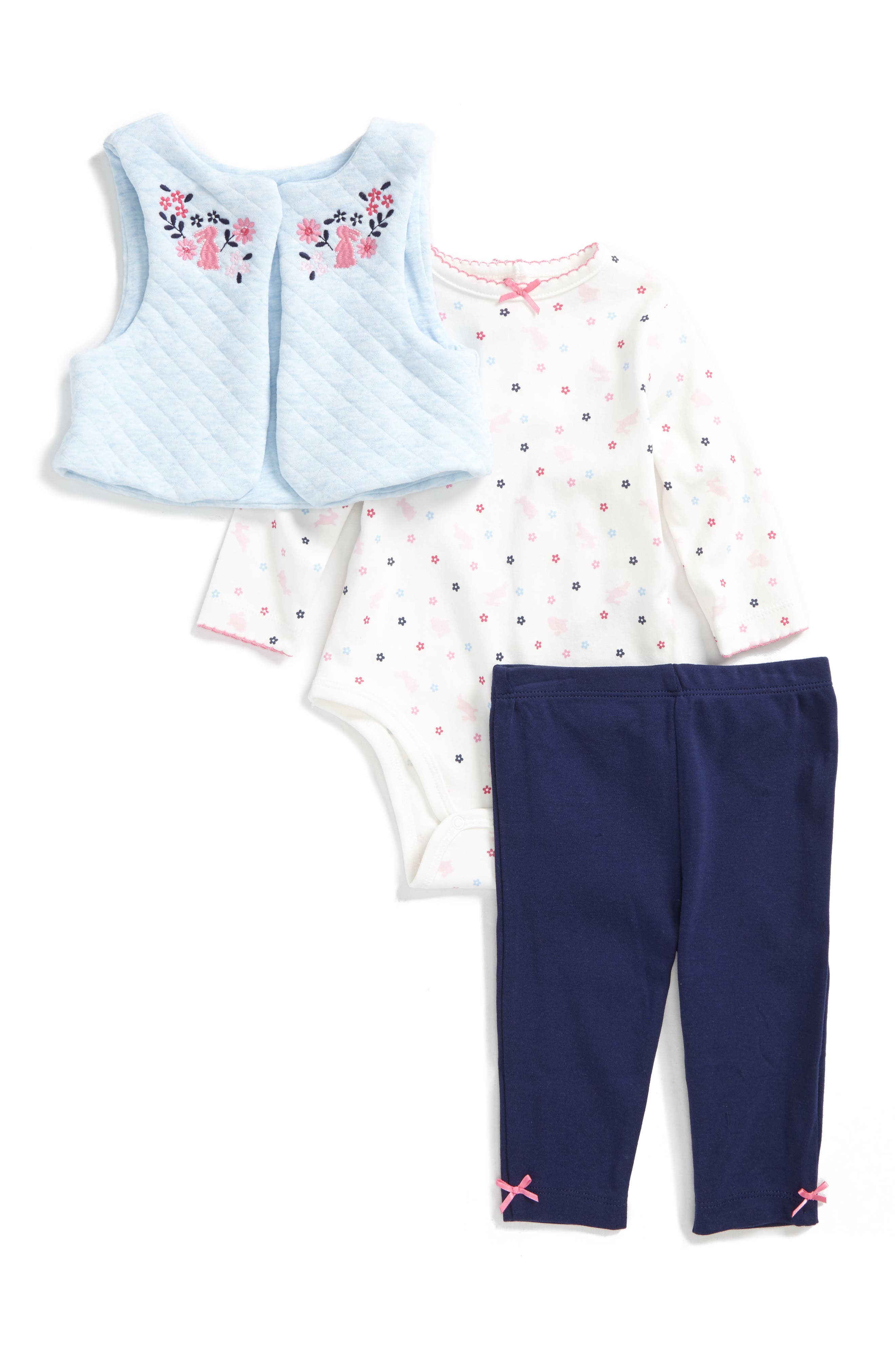 Alternate Image 1 Selected - Little Me Bunny Vest, Bodysuit & Pants Set (Baby Girls)