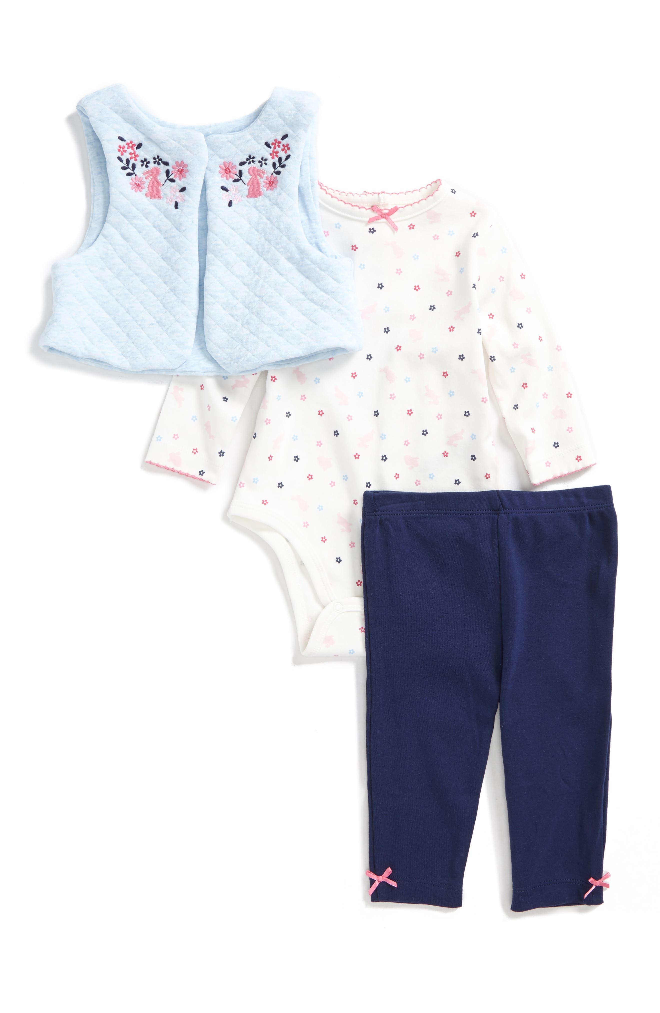 Little Me Bunny Vest, Bodysuit & Pants Set (Baby Girls)