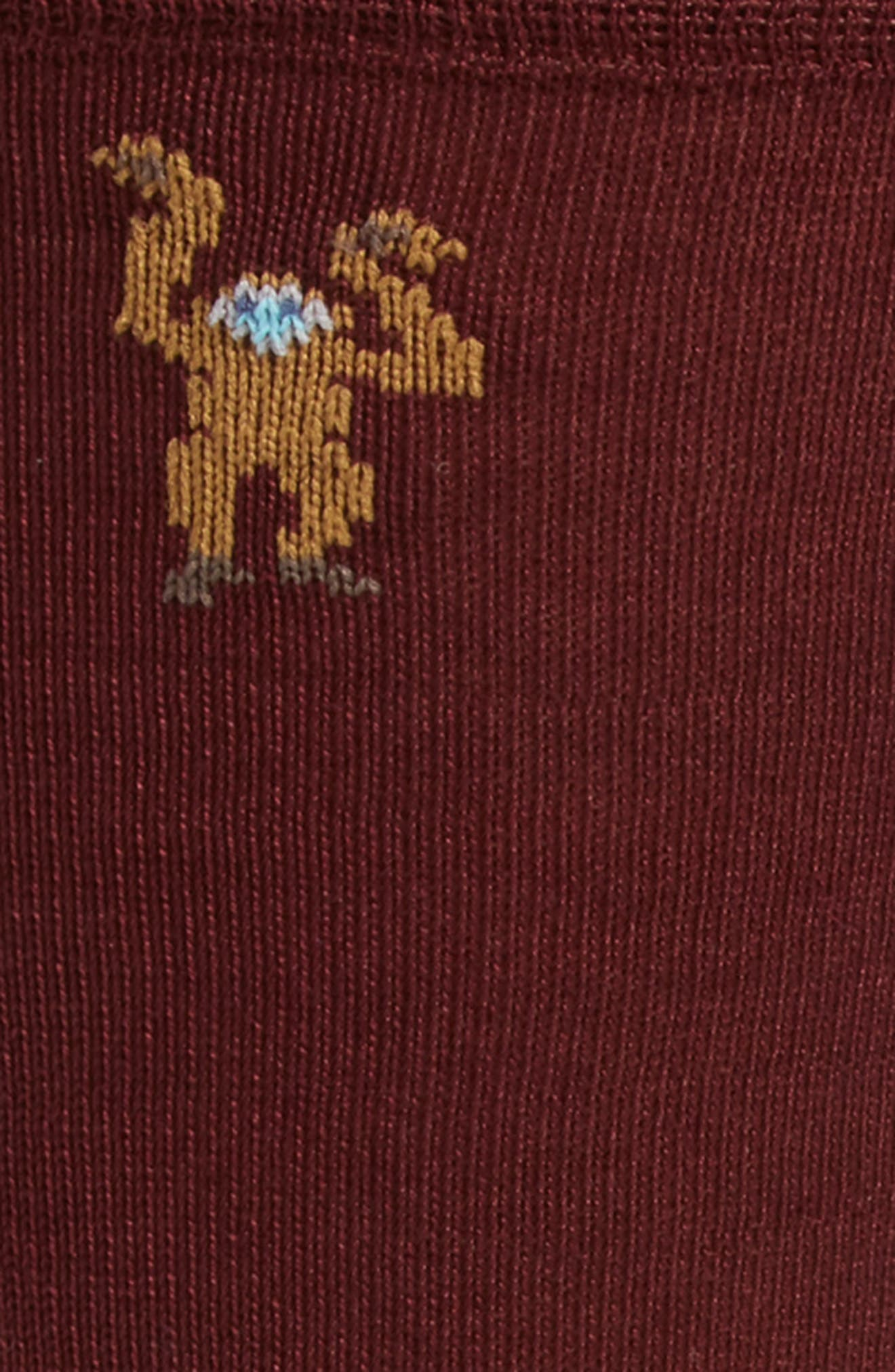 Monkey Socks,                             Alternate thumbnail 2, color,                             Burgundy