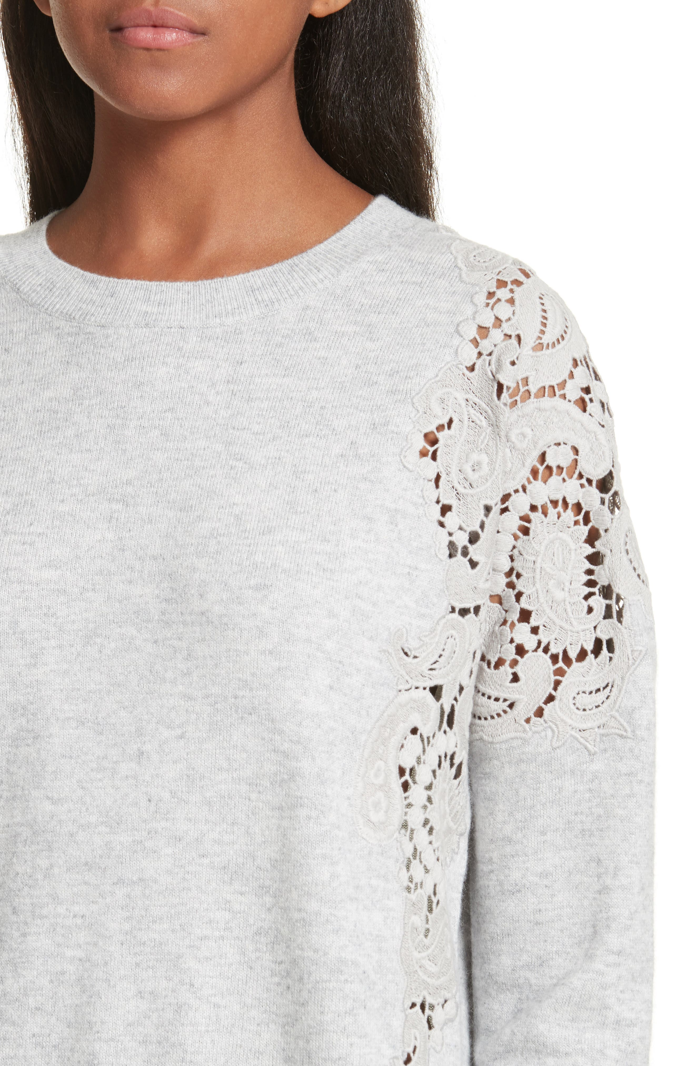 Tae Lace Shoulder Sweater,                             Alternate thumbnail 4, color,                             Mid Grey