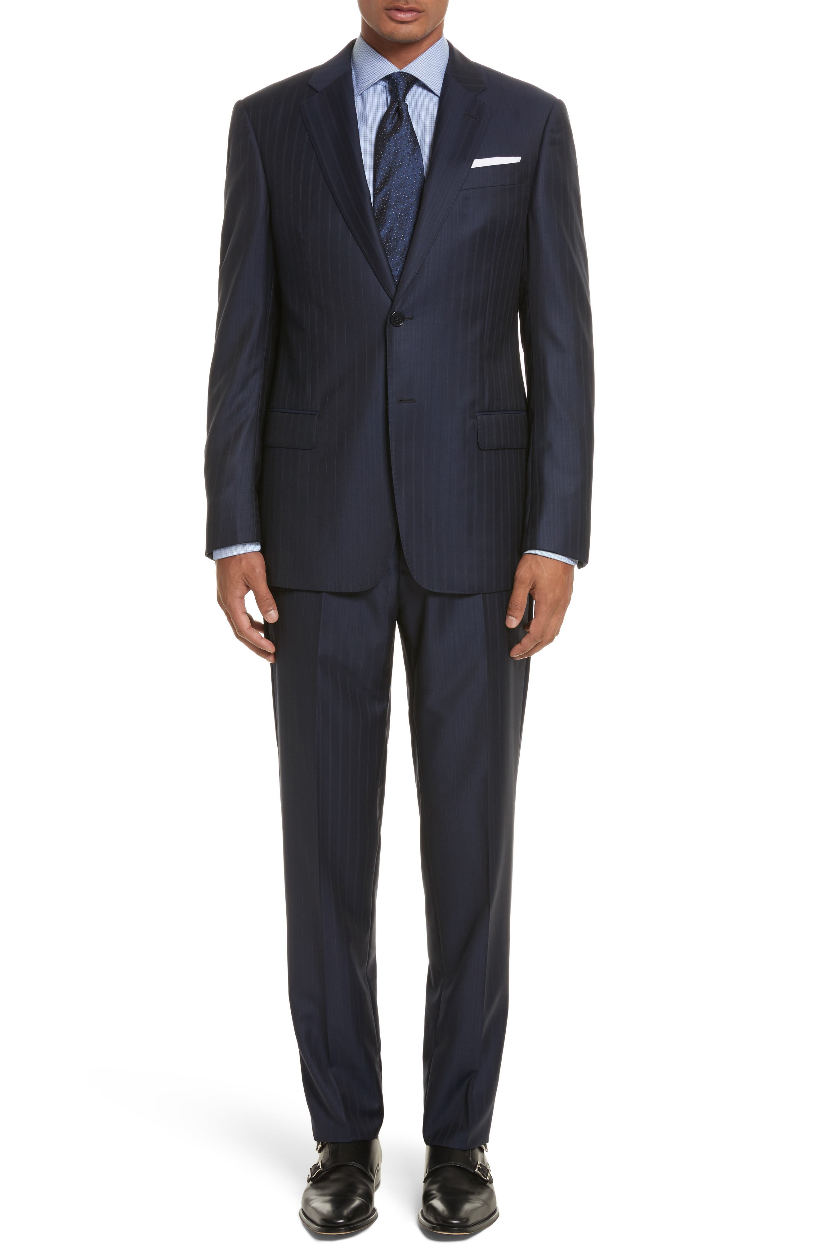 Alternate Image 1 Selected - Armani Collezioni G-Line Trim Fit Stripe Wool Suit