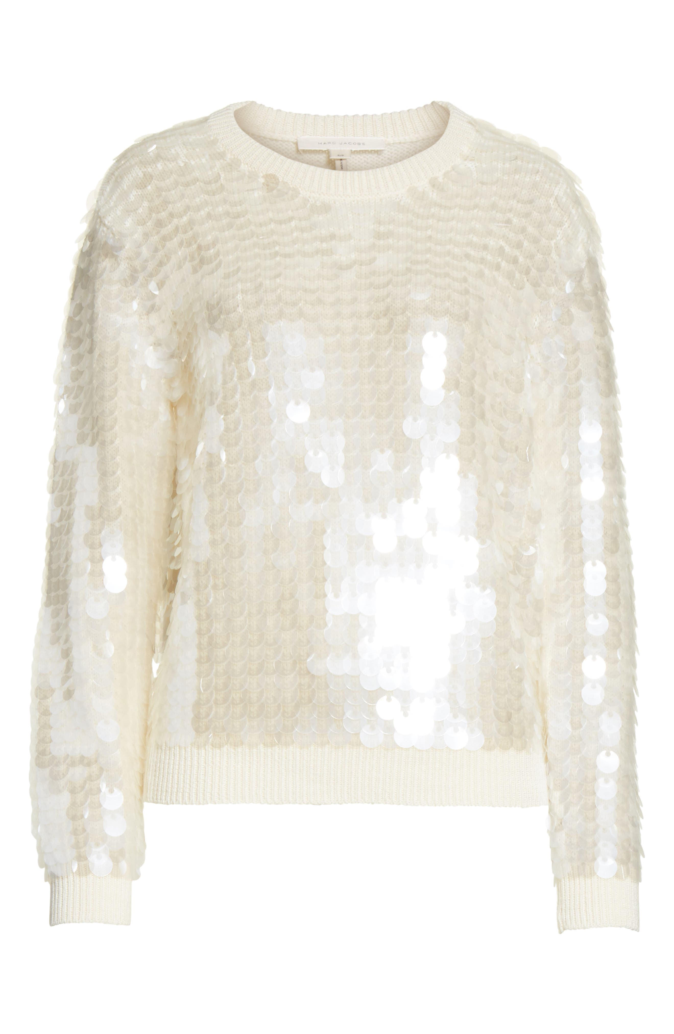 Sequin Wool Sweater,                             Alternate thumbnail 7, color,                             Ivory