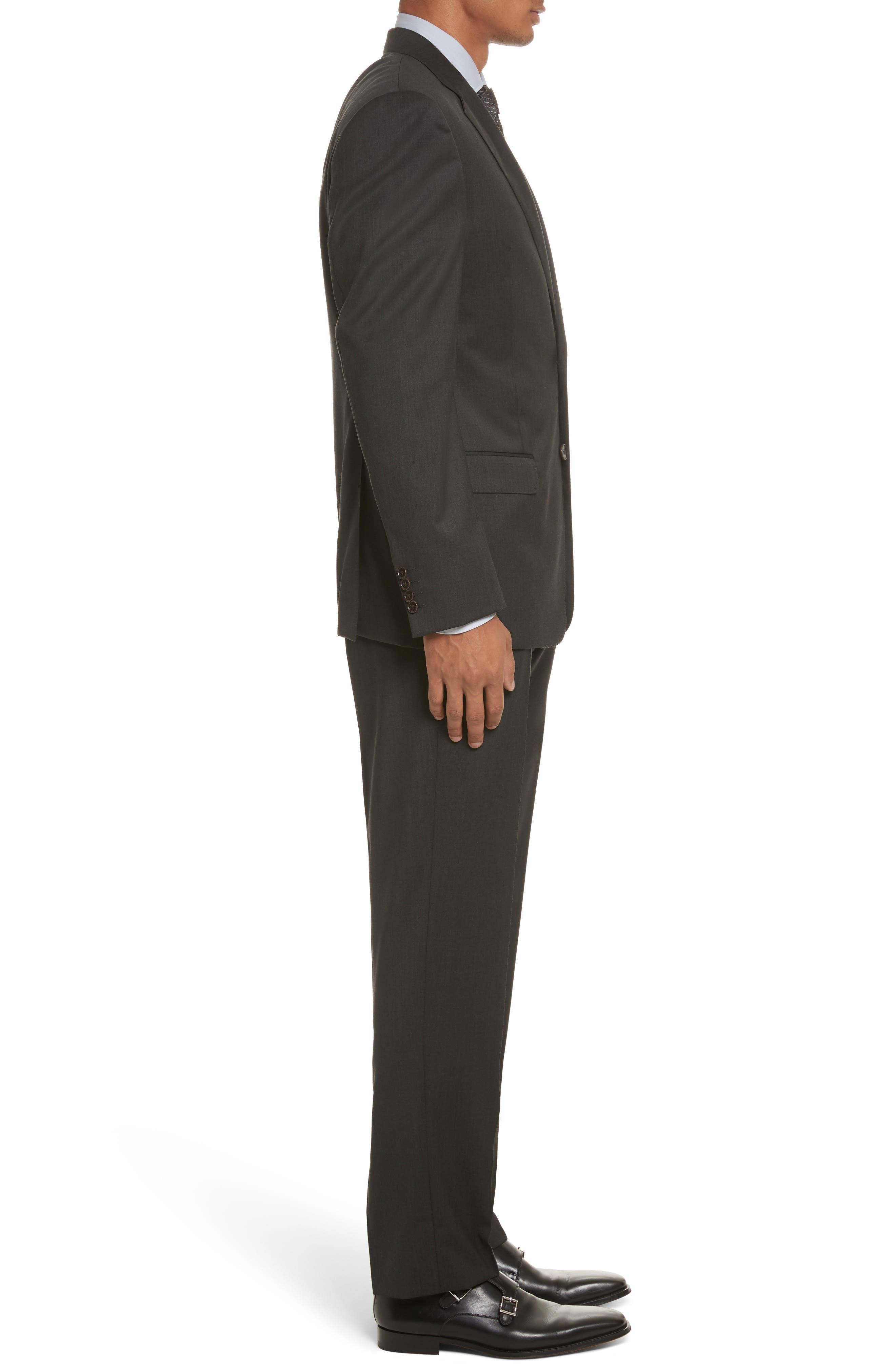 'G-Line' Trim Fit Solid Wool Suit,                             Alternate thumbnail 3, color,                             Charcoal