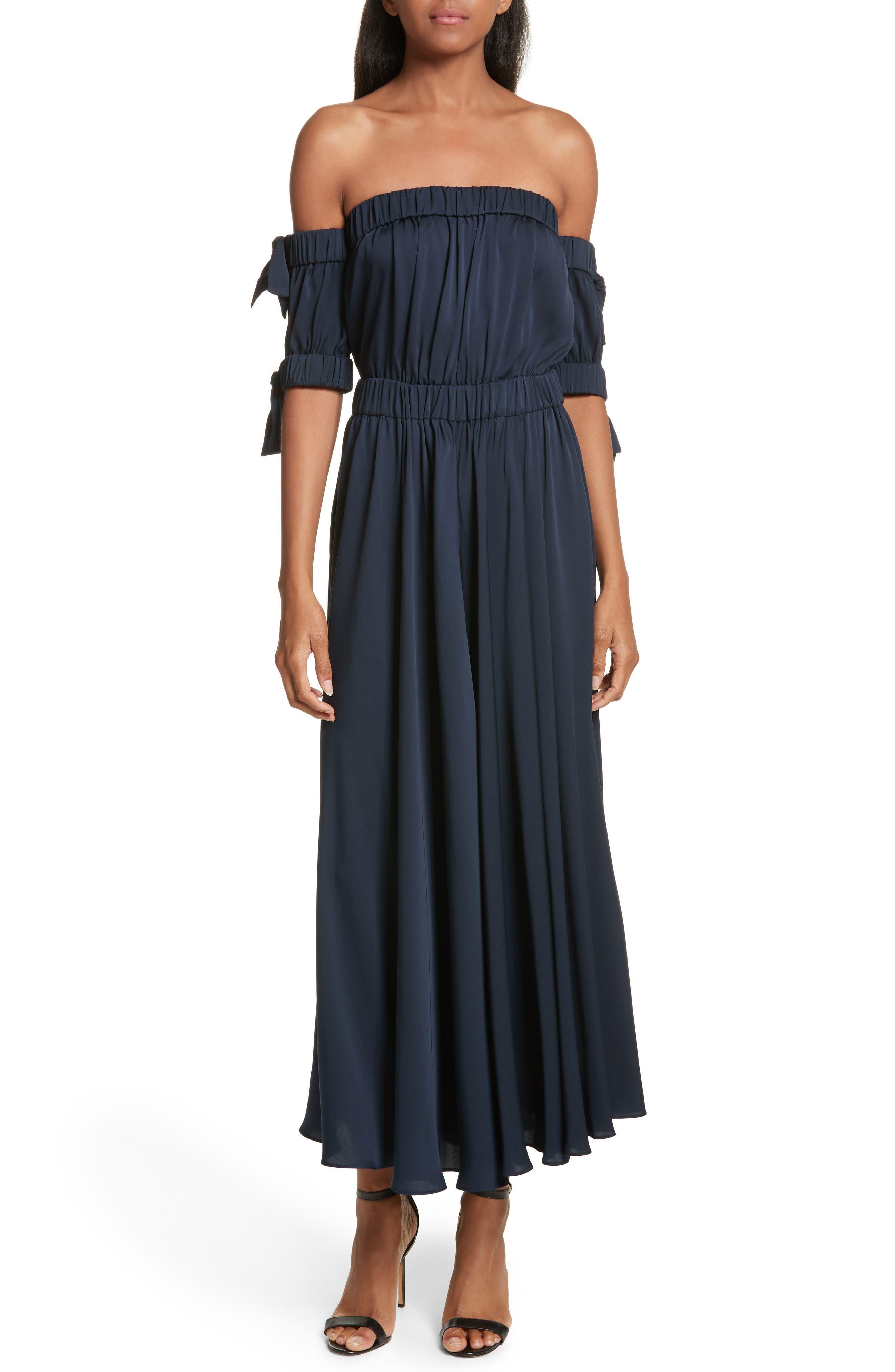 Zoey Stretch Silk Maxi Dress,                             Main thumbnail 1, color,                             Navy