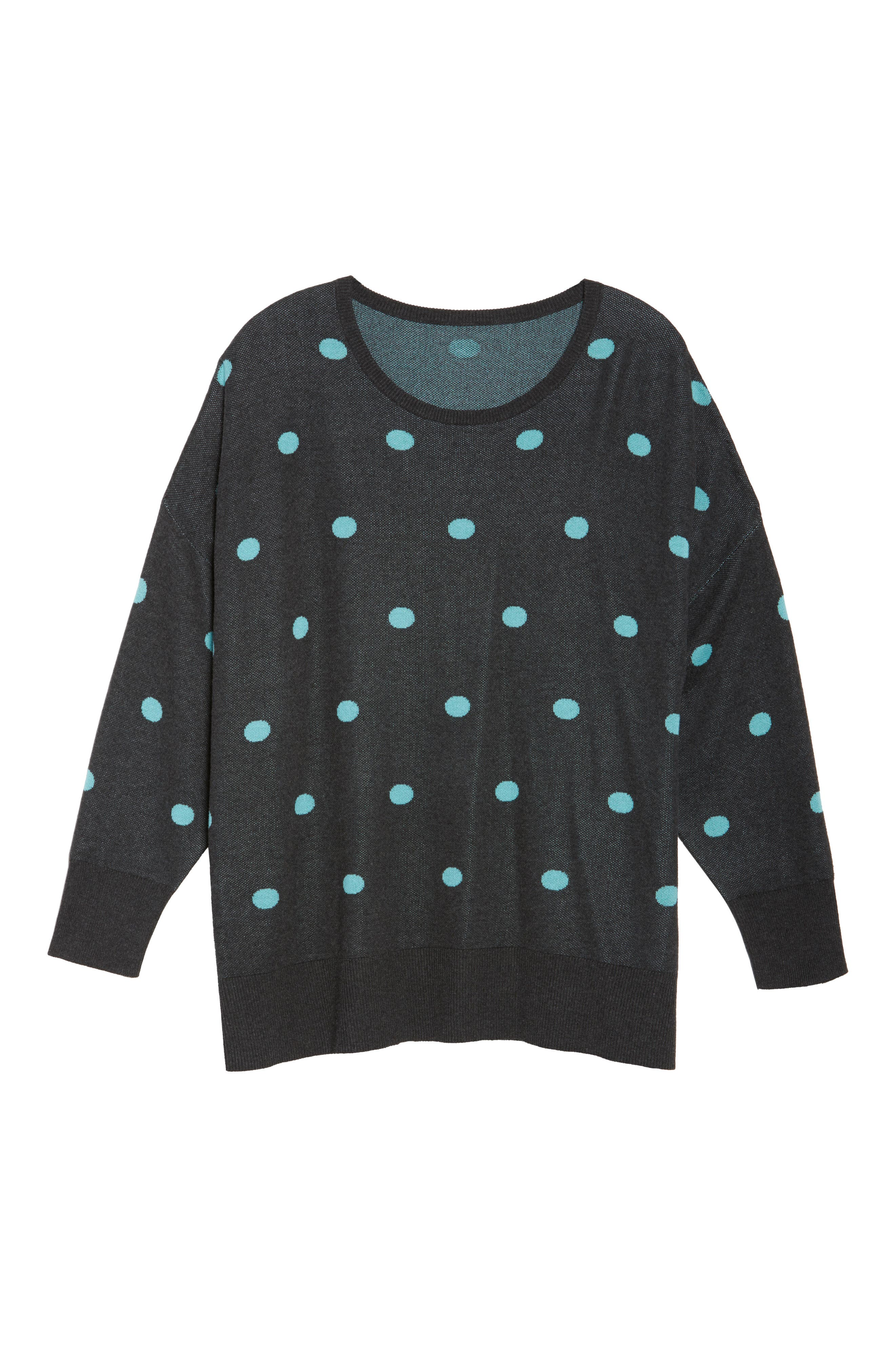 Dolman Sleeve Crewneck Sweater,                             Alternate thumbnail 6, color,                             Grey- Blue Dots Pattern