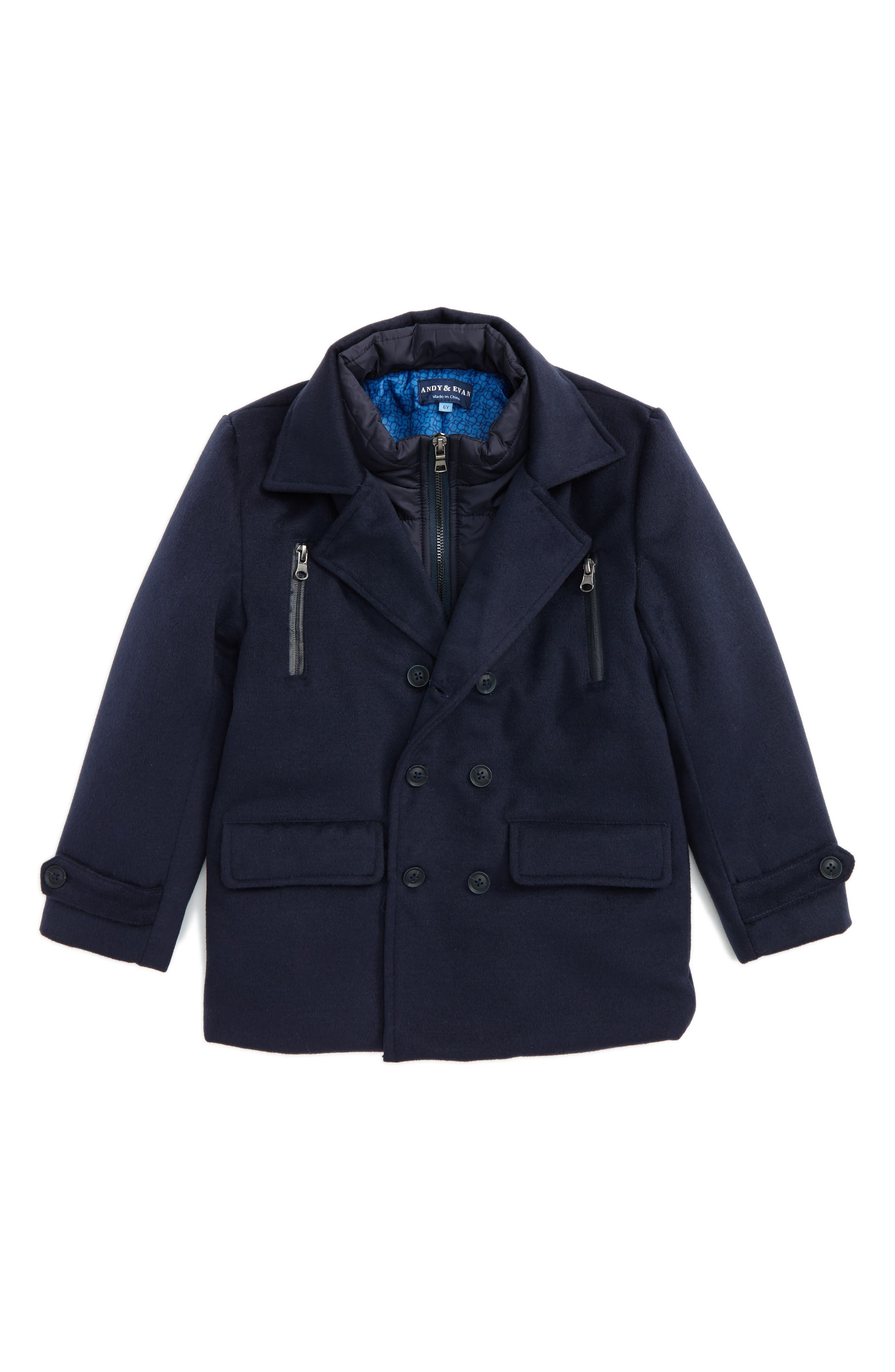Double Breasted Peacoat,                             Main thumbnail 1, color,                             Navy
