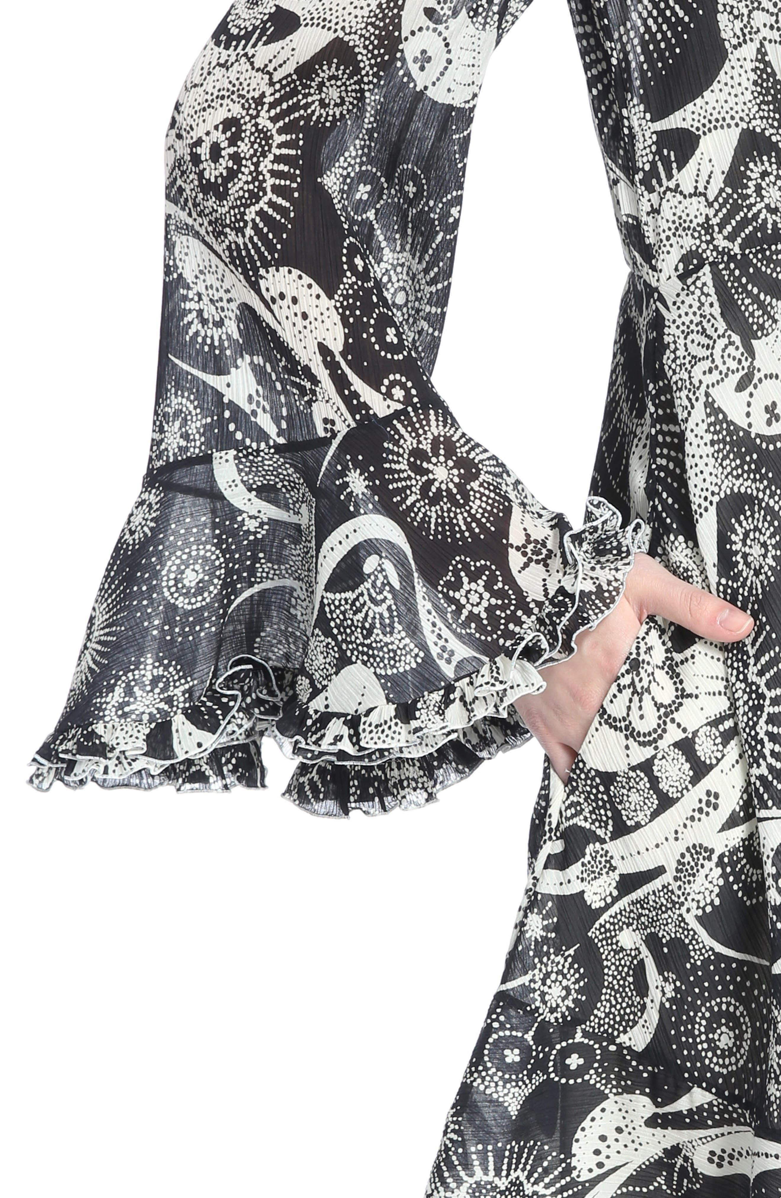 Dotty Ruffle Trim Crépon Dress with Scarf,                             Alternate thumbnail 4, color,                             Black-White