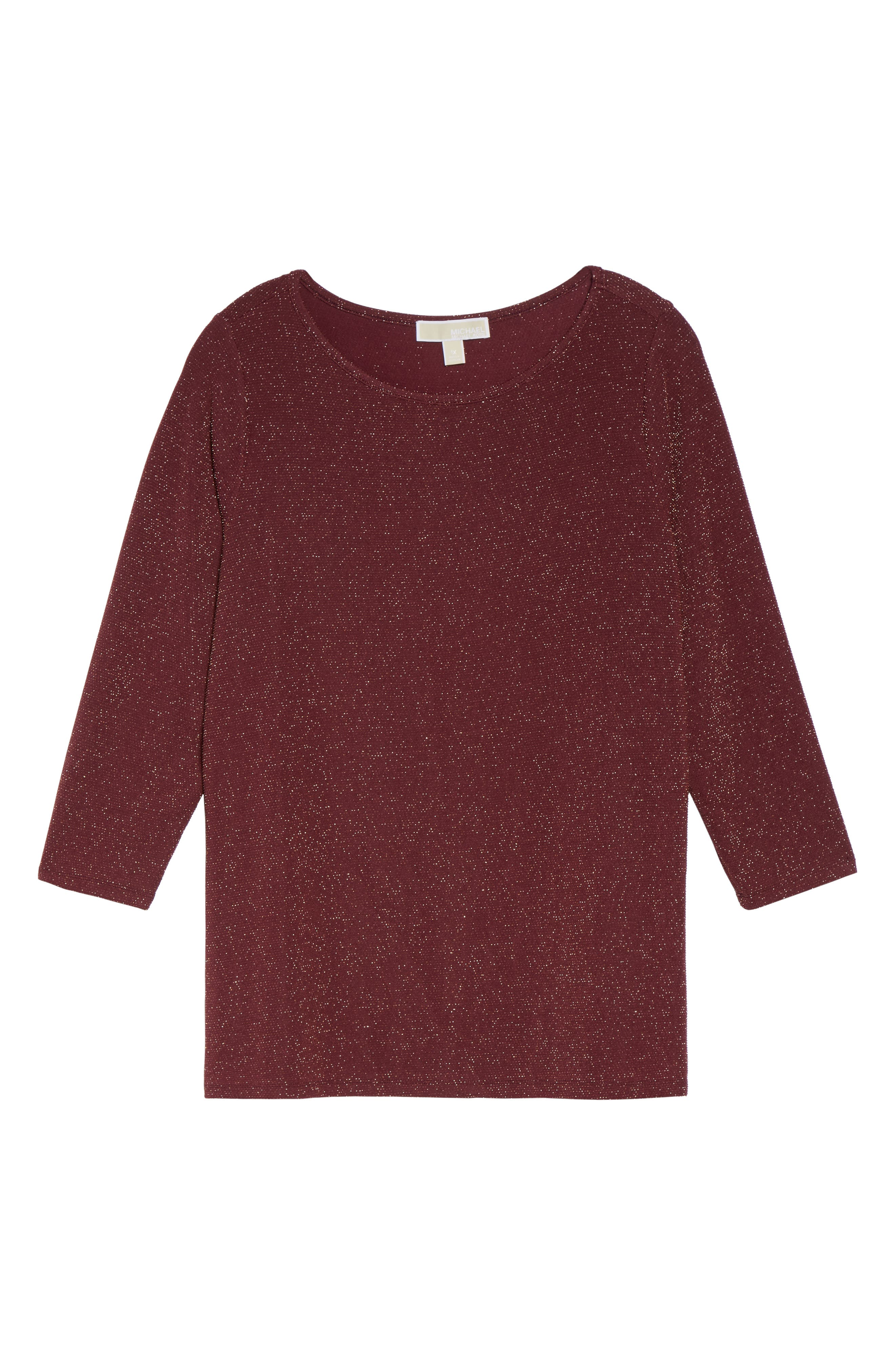 Metallic Top,                             Alternate thumbnail 6, color,                             Merlot