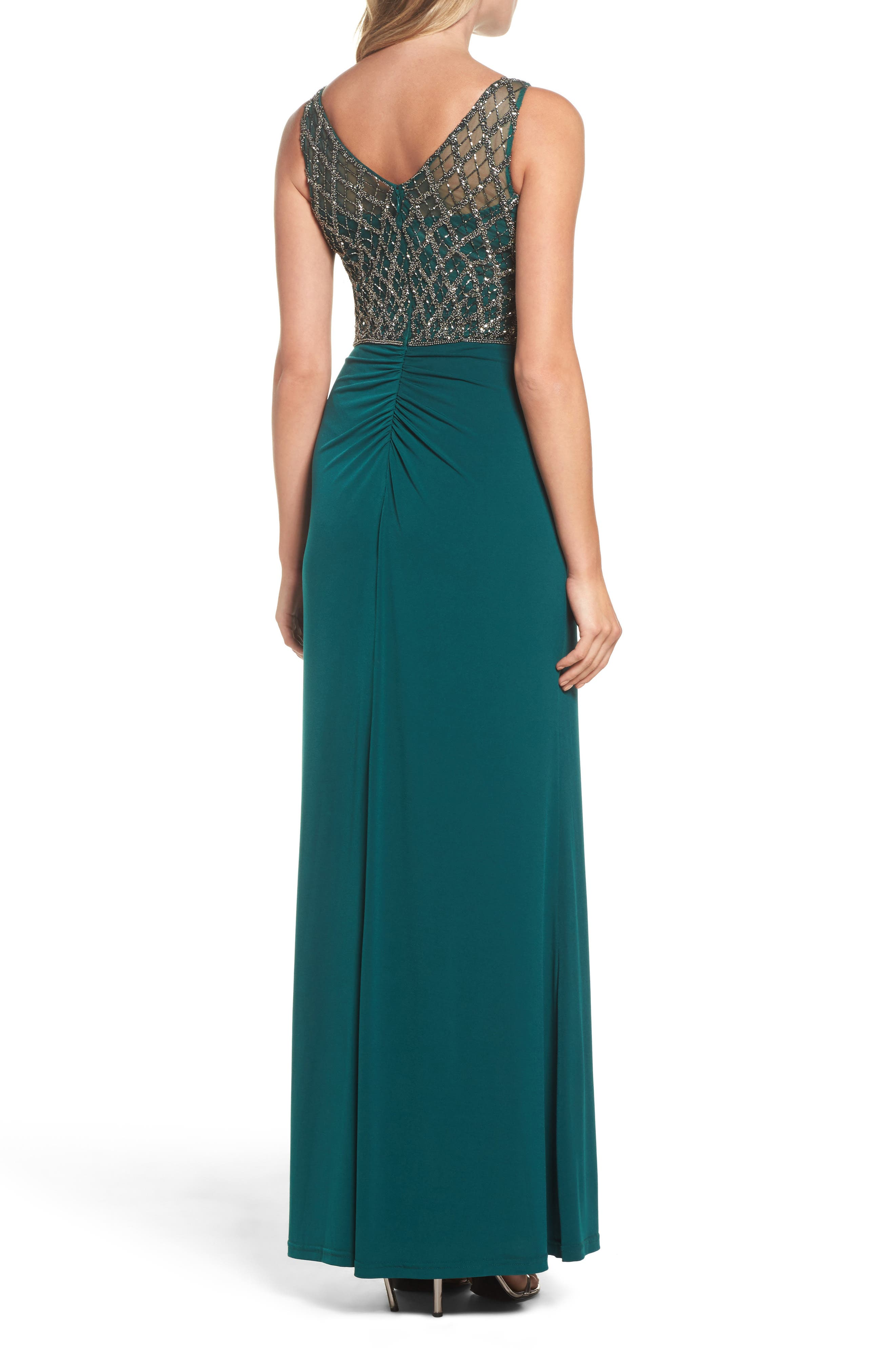 Alternate Image 2  - Adrianna Papell Beaded Bodice Column Gown (Regular & Petite)