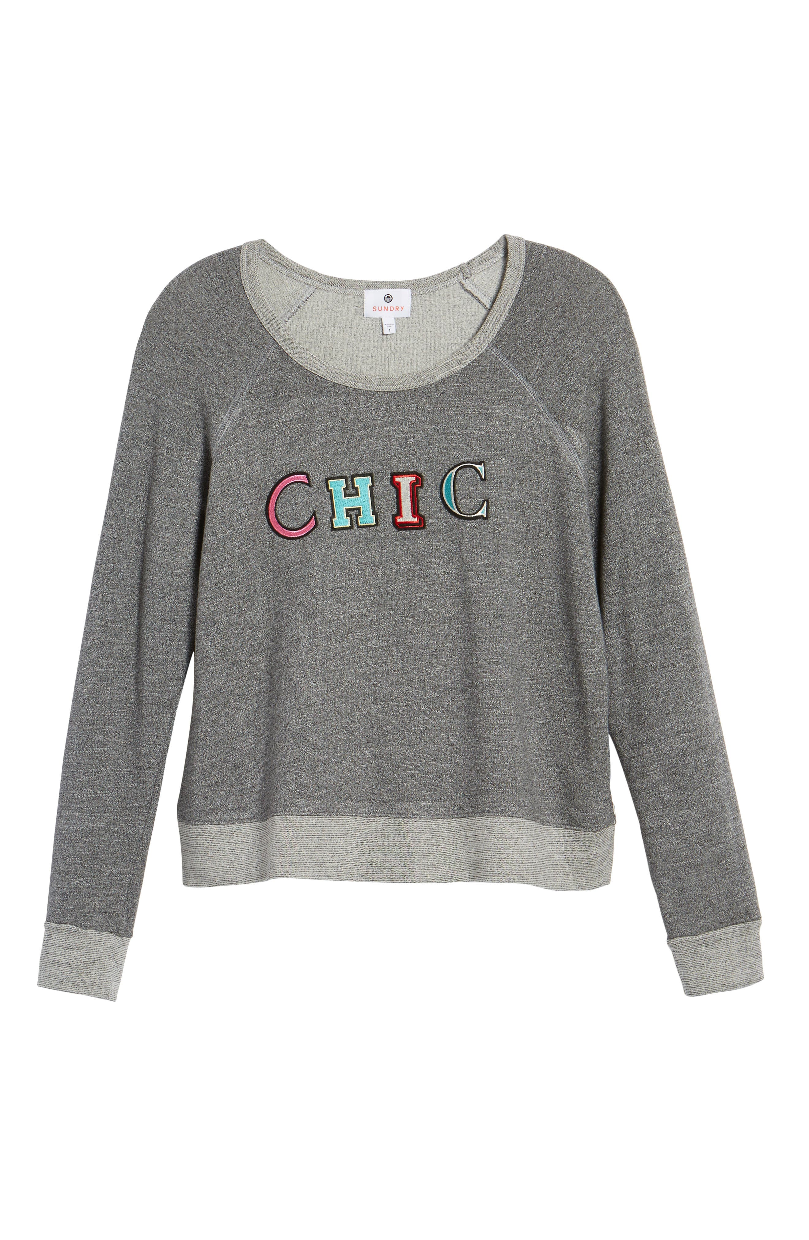 Chic Crop Sweatshirt,                             Alternate thumbnail 6, color,                             Heather Grey