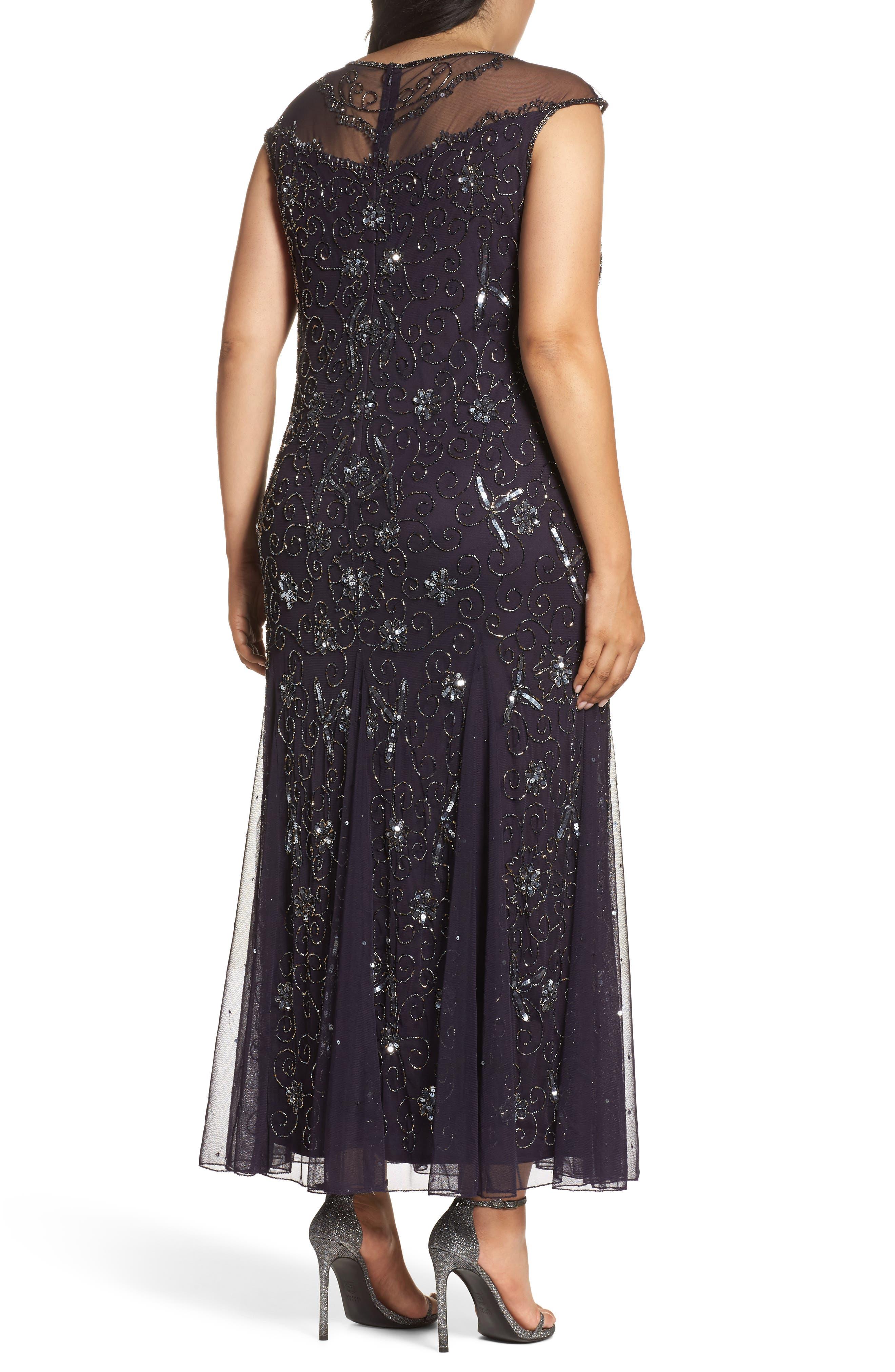 Alternate Image 2  - Pisarro Nights Embellished Mesh Godet Gown (Plus Size)