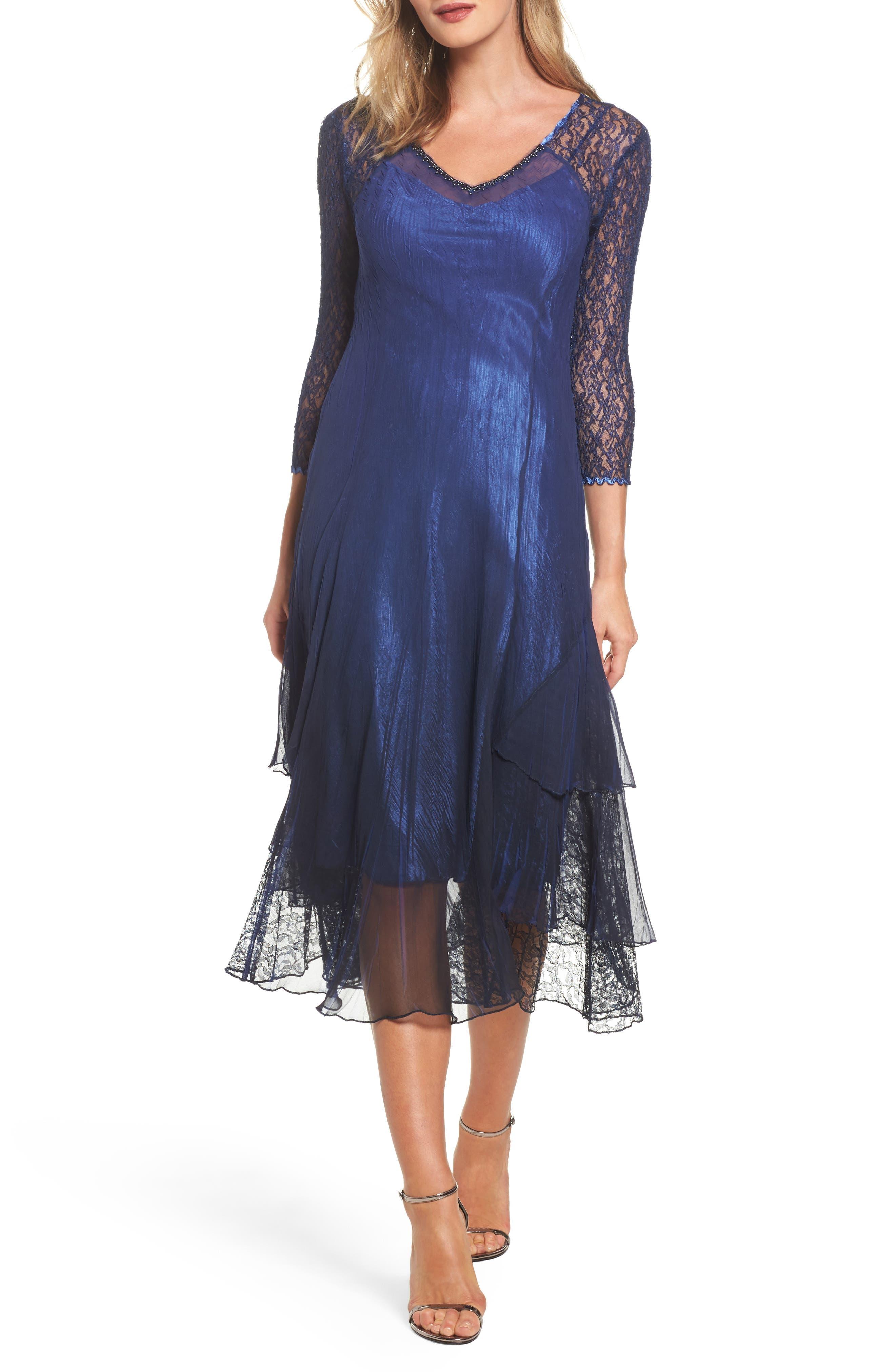 Ombré Lace & Chiffon Midi Dress,                         Main,                         color, Navy Black Ombre