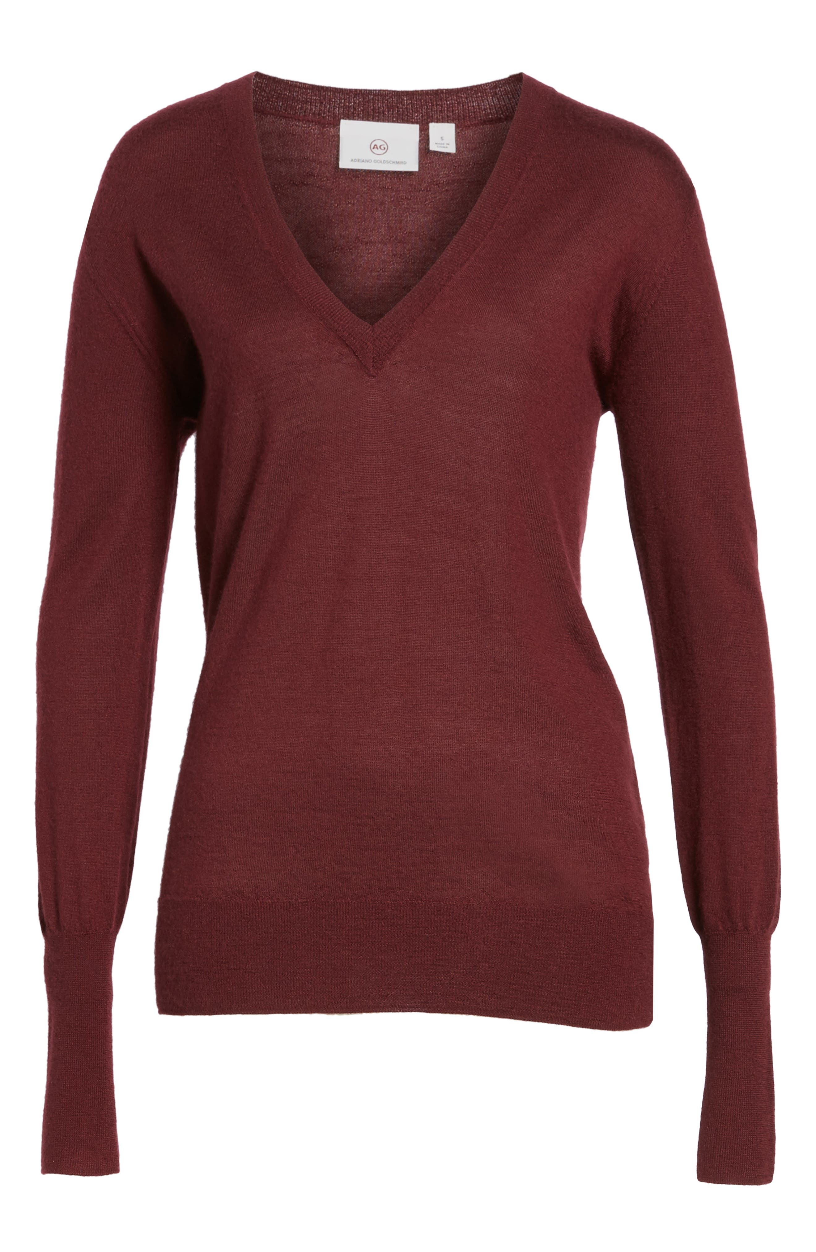 Uma V-Neck Cashmere Sweater,                             Alternate thumbnail 6, color,                             Deep Currant