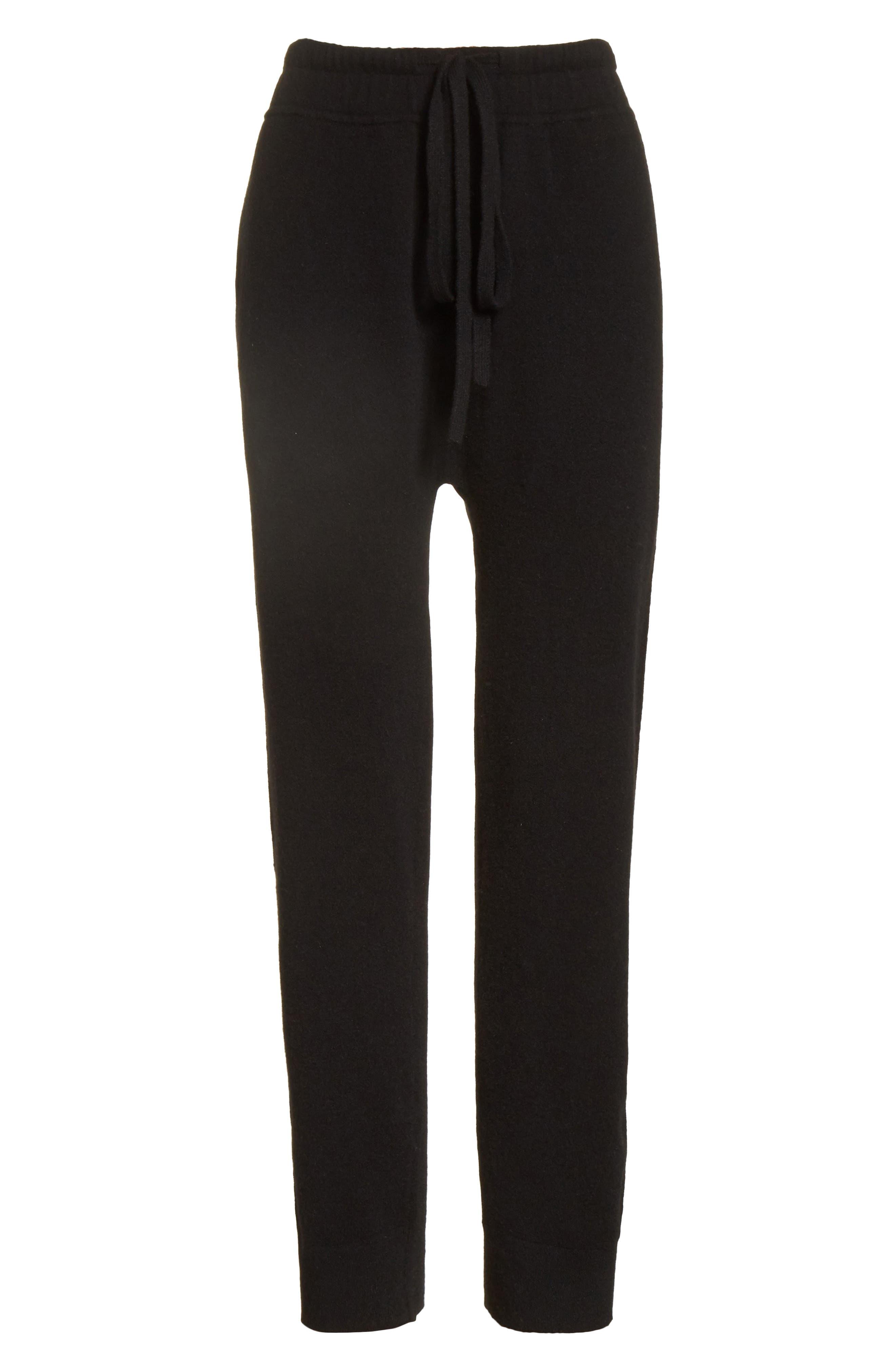 Wool & Cashmere Blend Jogger Pants,                             Alternate thumbnail 6, color,                             Black