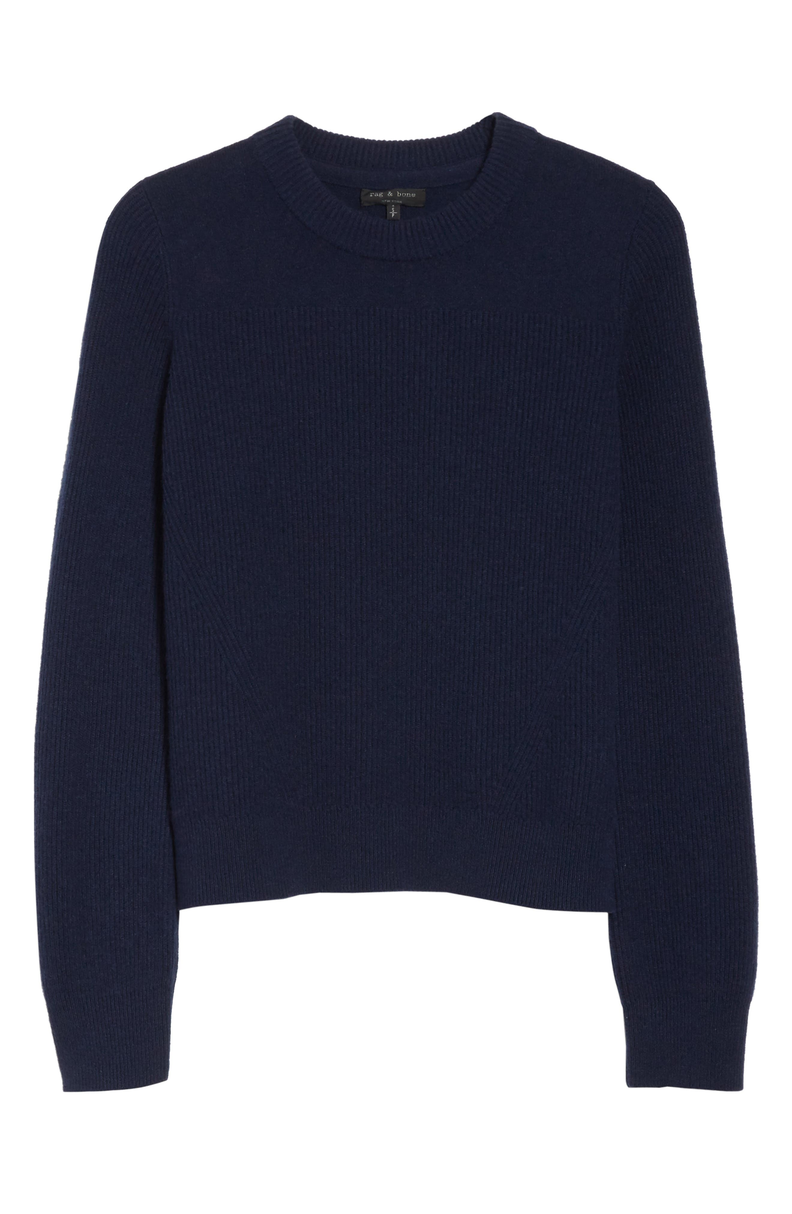 Ace Cashmere Crop Sweater,                             Alternate thumbnail 6, color,                             Navy
