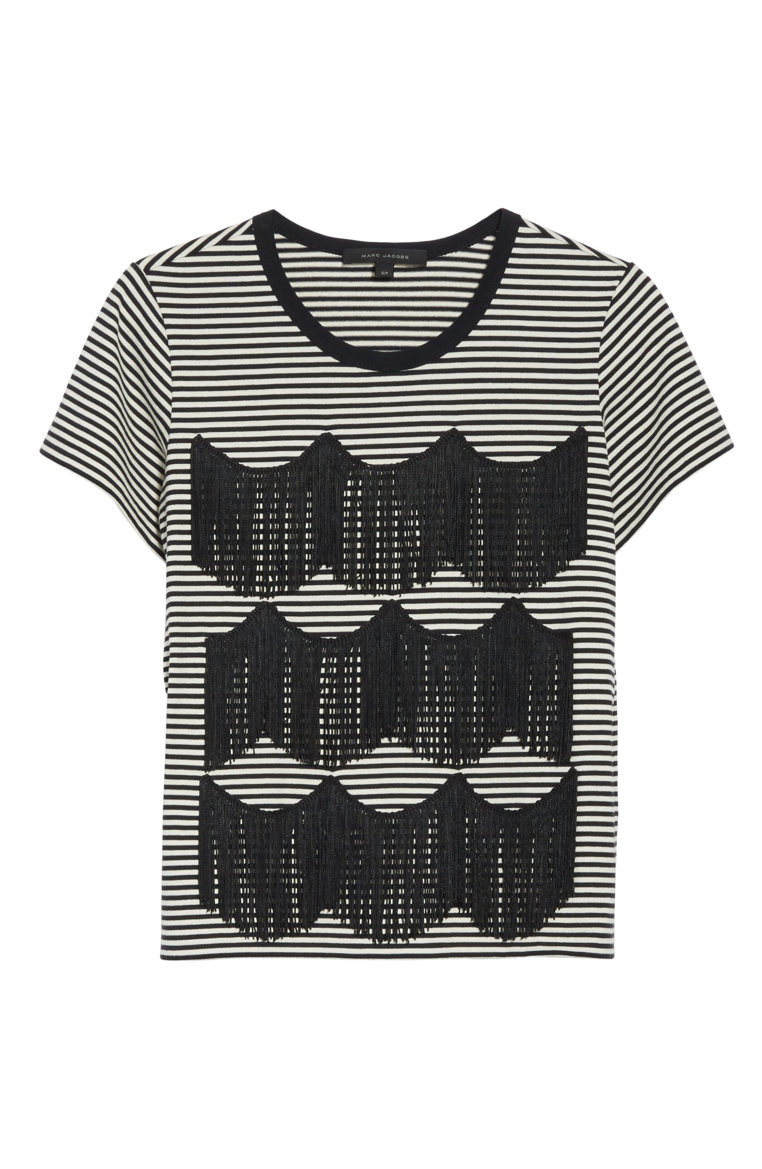 Fringe Stripe Tee,                             Alternate thumbnail 6, color,                             Black/ Ivory