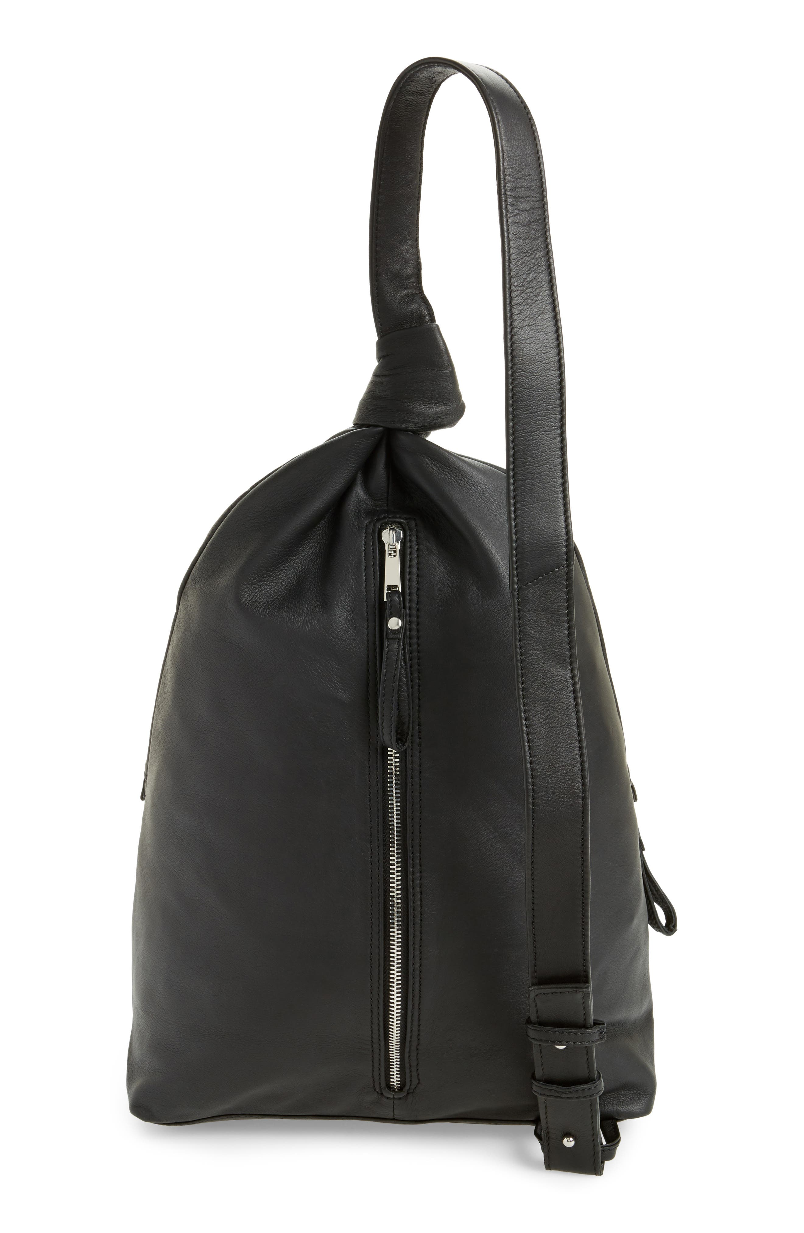 Premium Leather Slouch Knot Backpack,                             Alternate thumbnail 3, color,                             Black