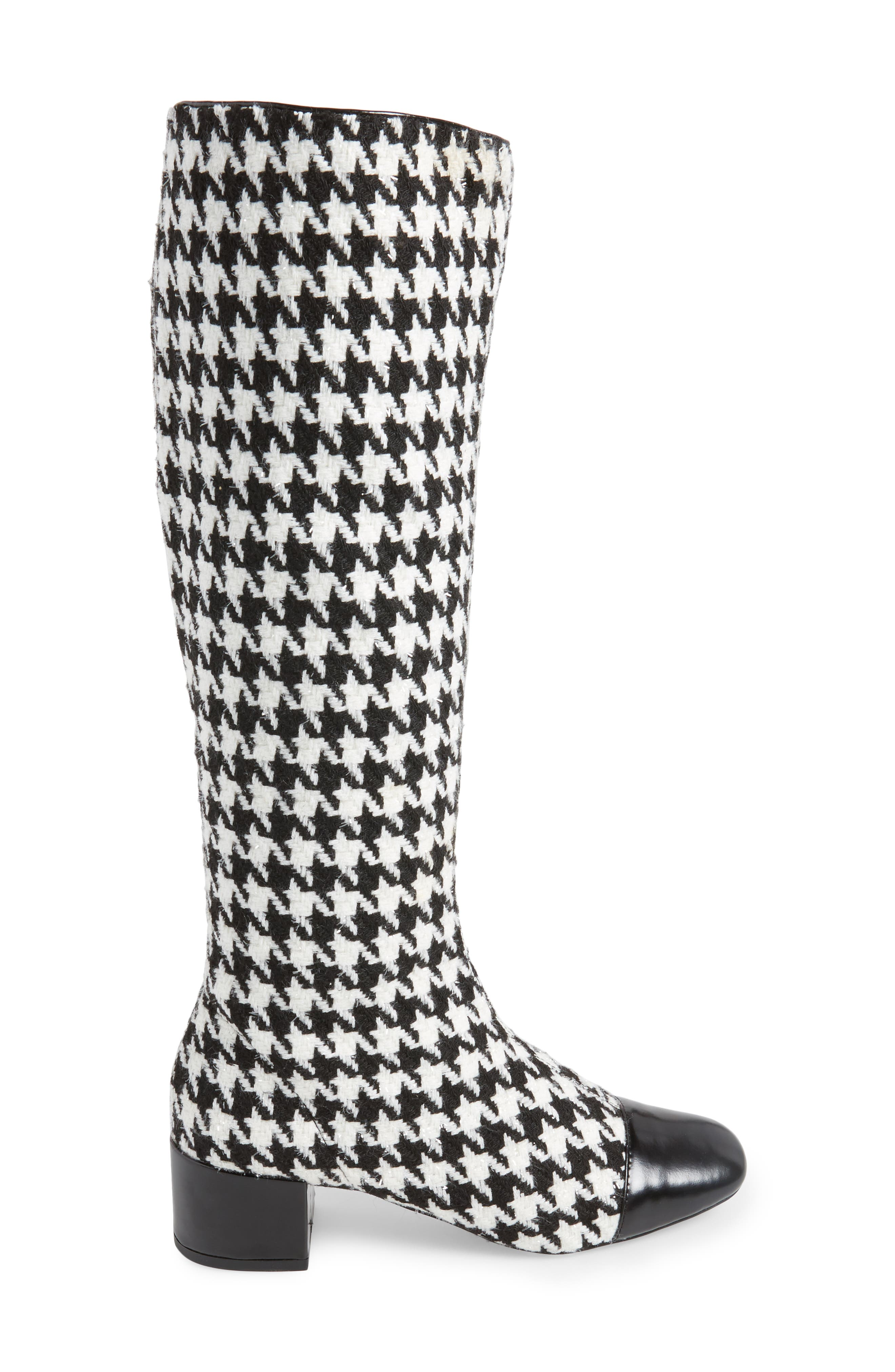 Covey Knee-High Boot,                             Alternate thumbnail 3, color,                             Black White Houndstooth