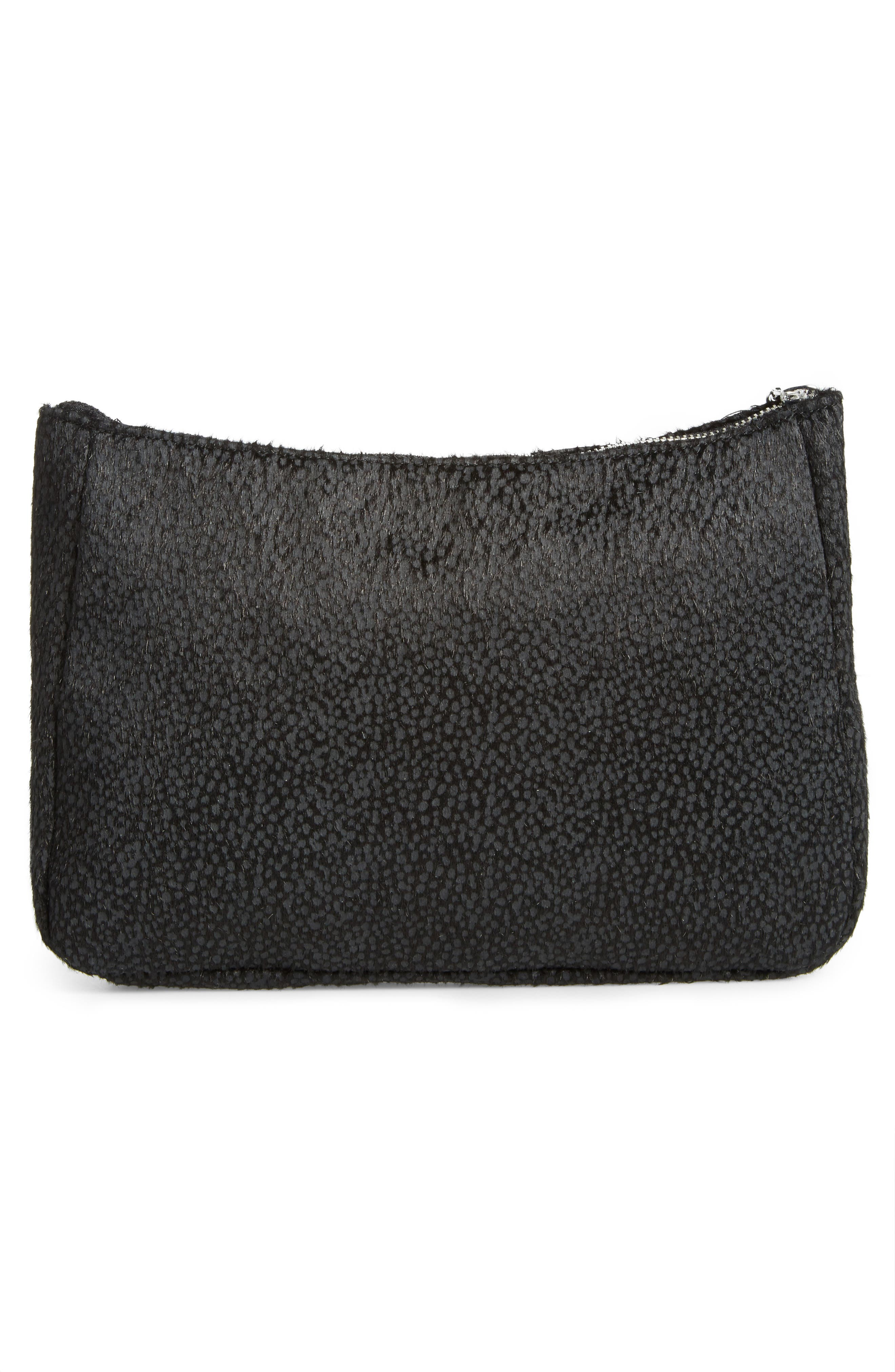 Faux Calf Hair Clutch,                             Alternate thumbnail 3, color,                             Black