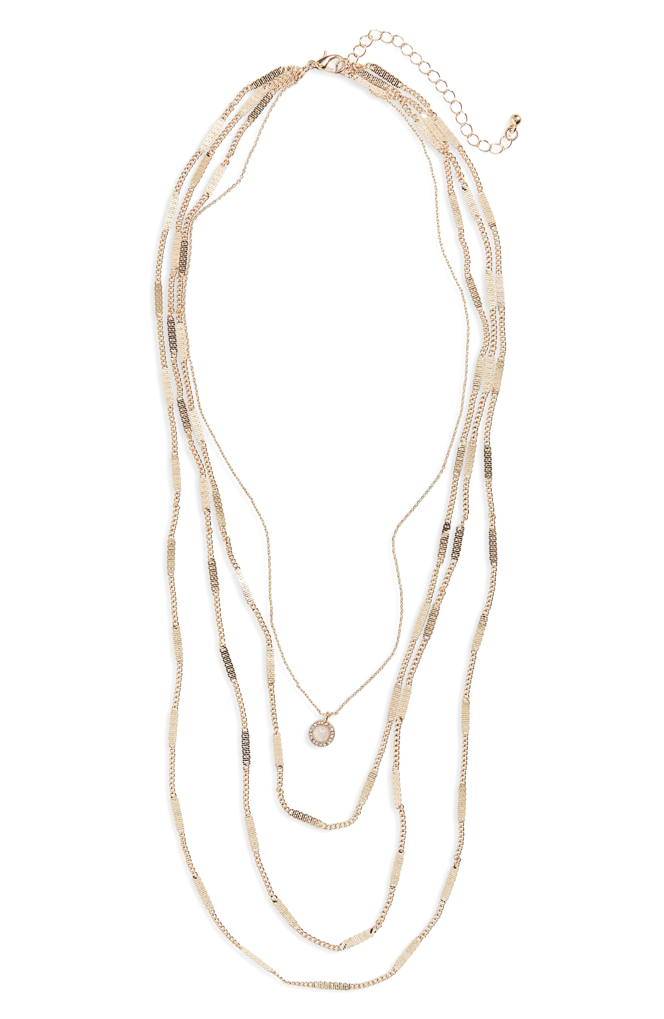 Layered Charm Necklace,                         Main,                         color, Gold/ Crystal
