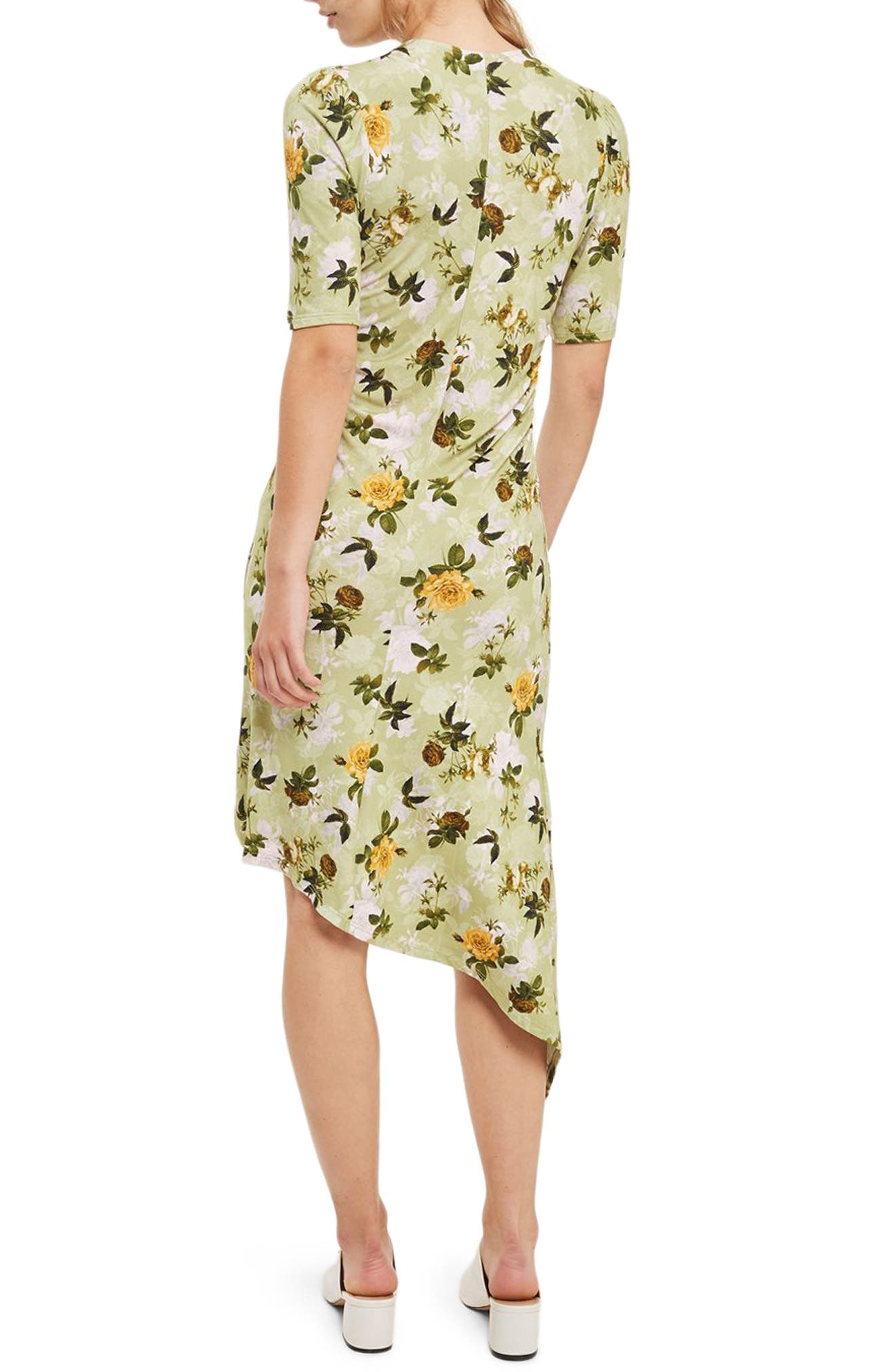 Floral Ruched Asymmetrical Midi Dress,                             Alternate thumbnail 2, color,                             Green Multi