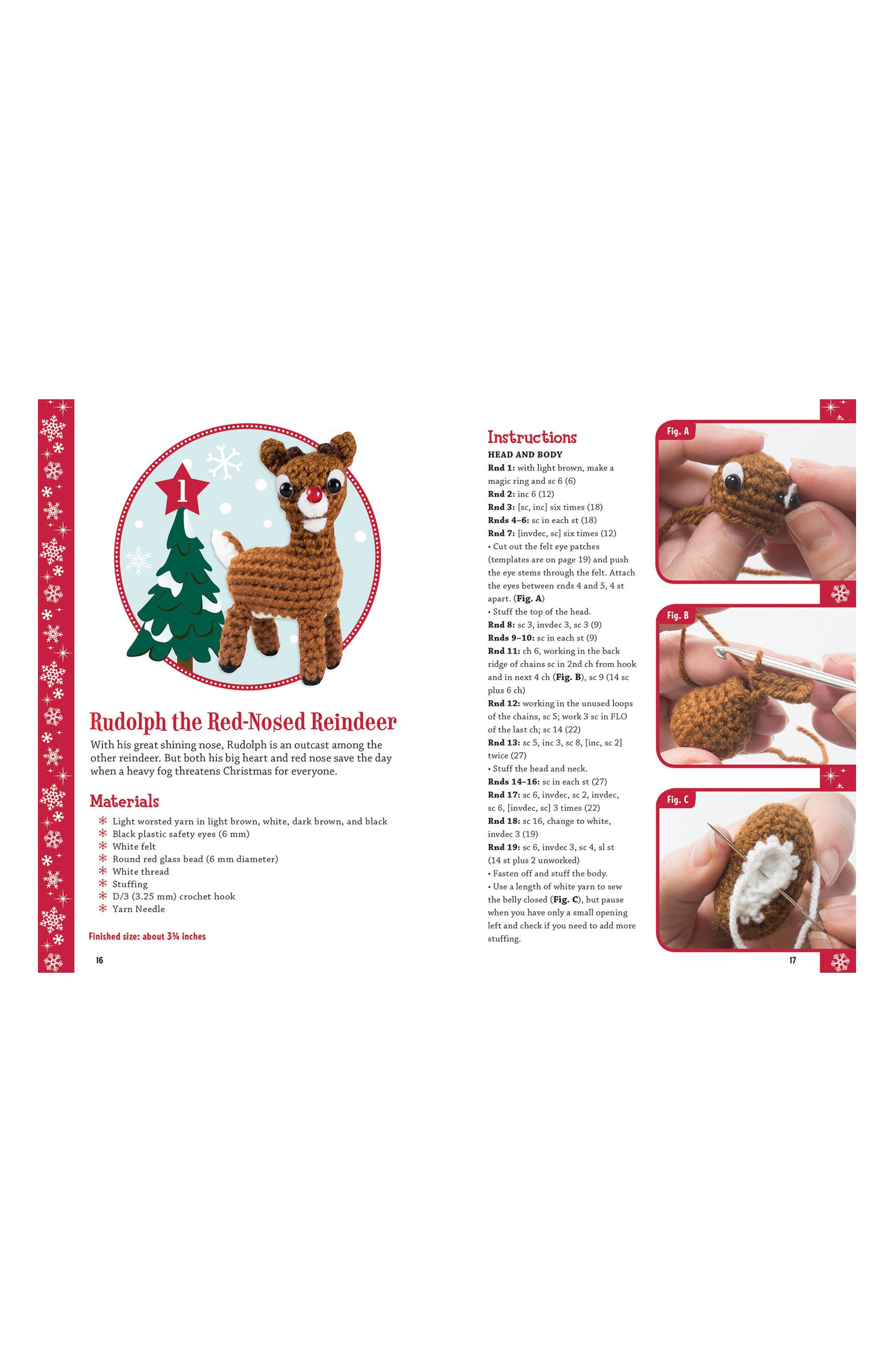 Rudolph the Red Nosed Reindeer Crochet Kit,                             Alternate thumbnail 3, color,                             Red