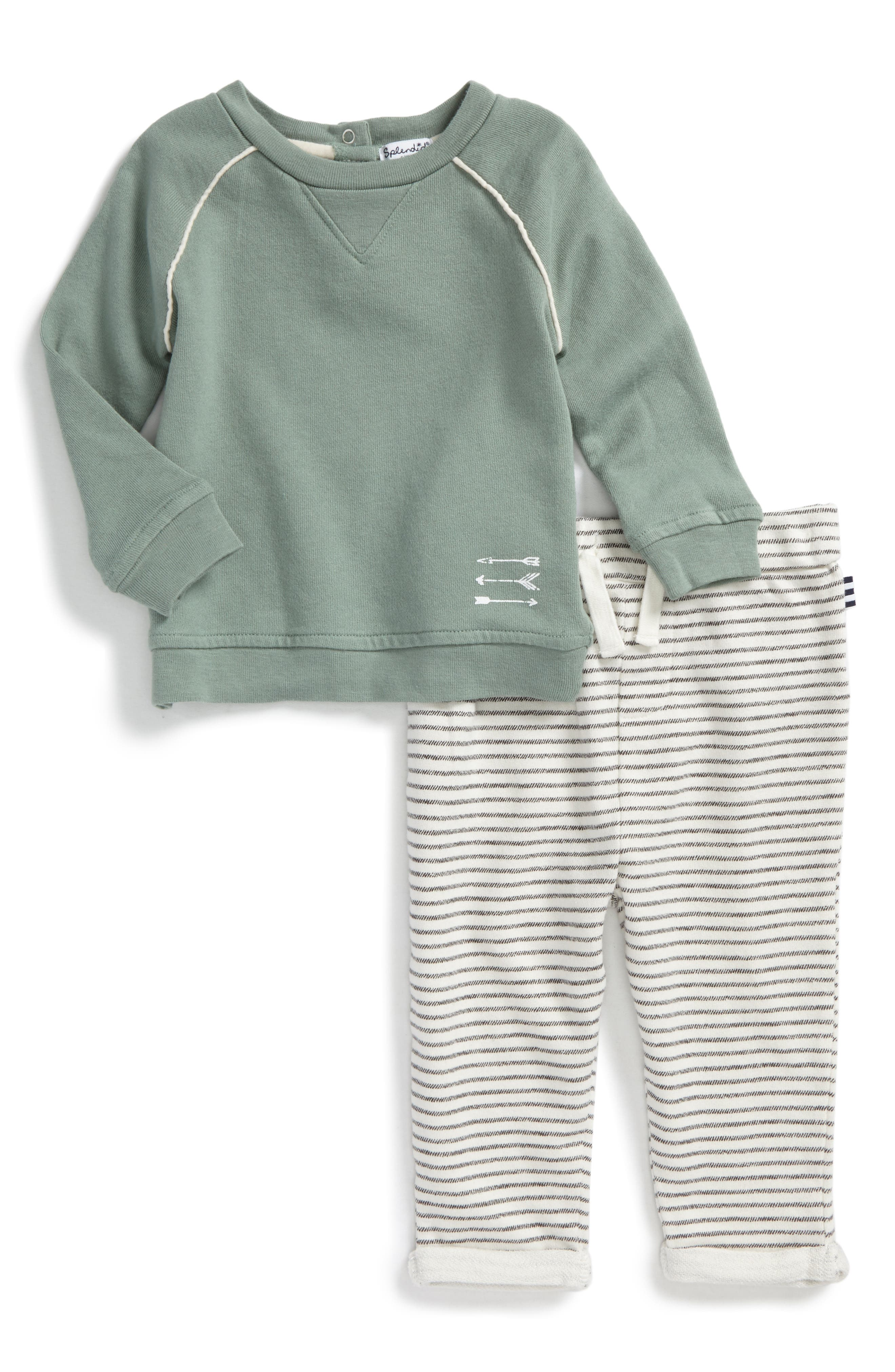 Sweatshirt & Stripe Pants Set,                         Main,                         color, Green S310
