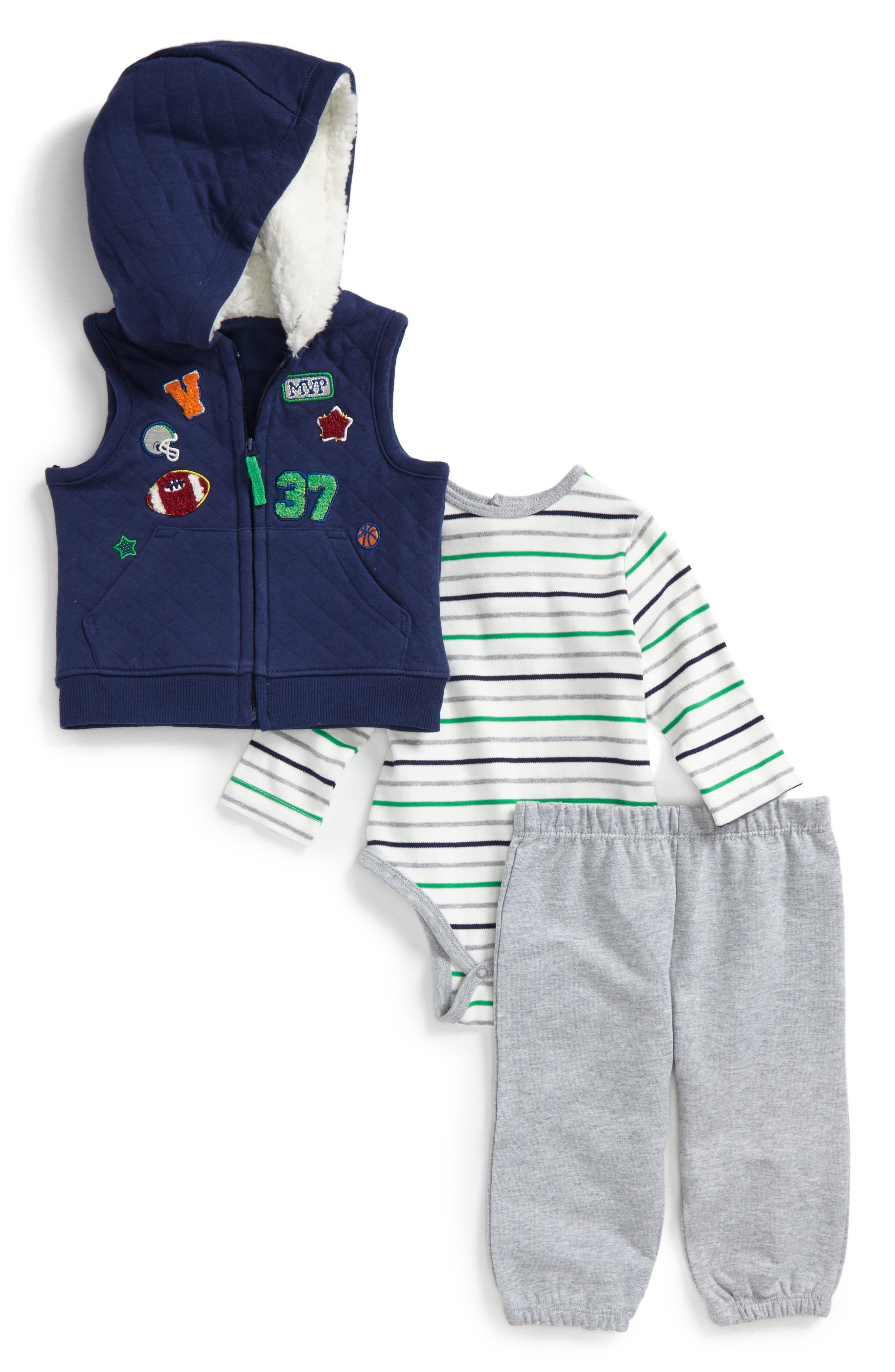 Main Image - Little Me Sports Vest, Bodysuit & Pants Set (Baby Boys)